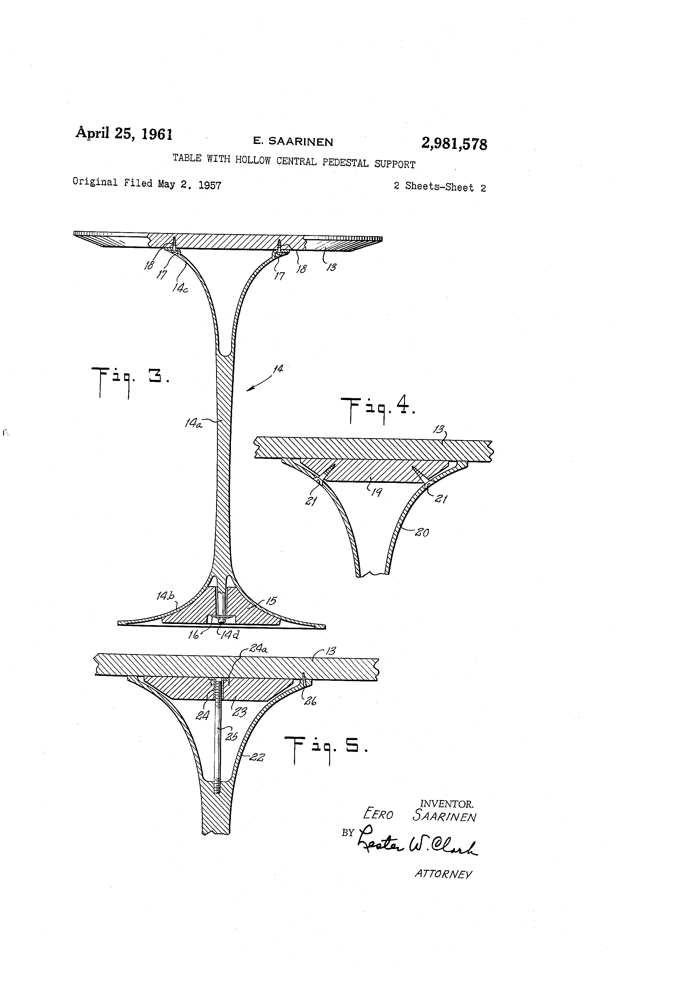 Patent Us2981578 Table With Hollow Central Pedestal