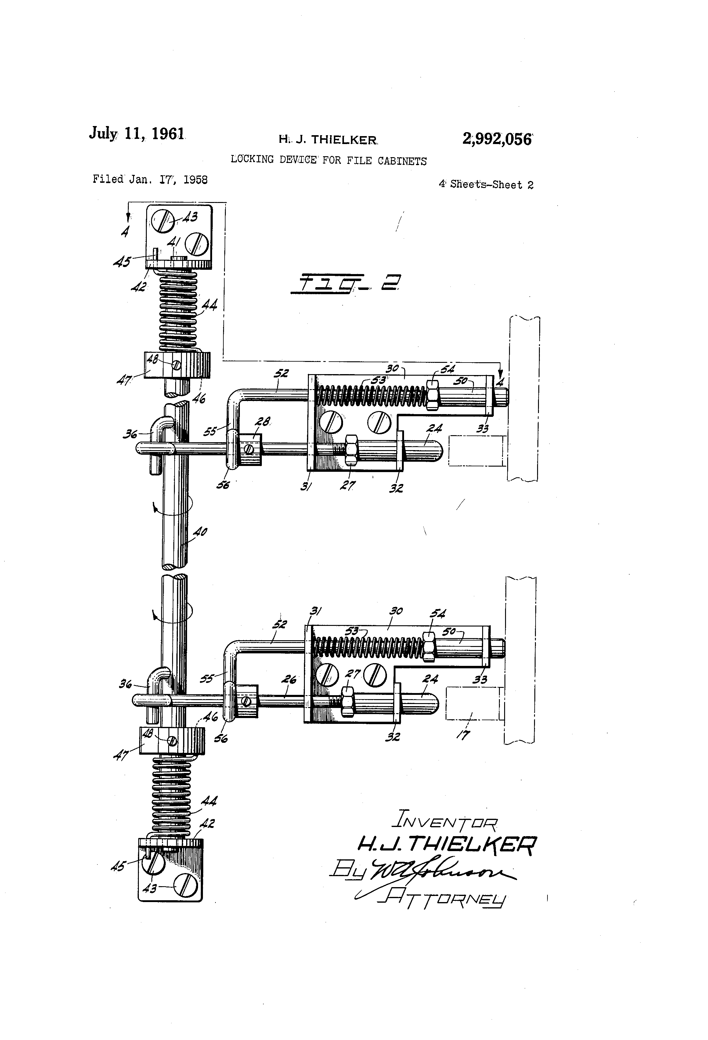 Patent US2992056 - Locking device for file cabinets - Google Patents