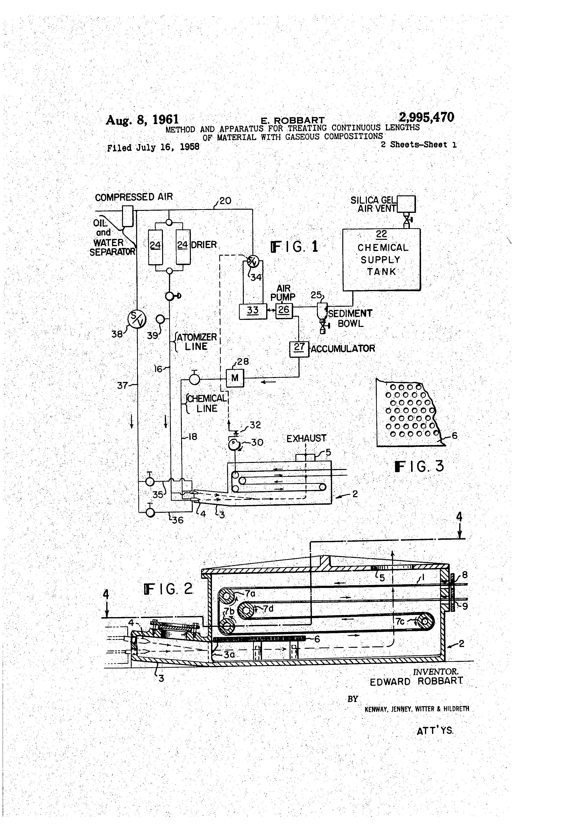 Patent Us2995470 Method And Apparatus For Treating Continuous Accumulator Tank Schematic Drawing