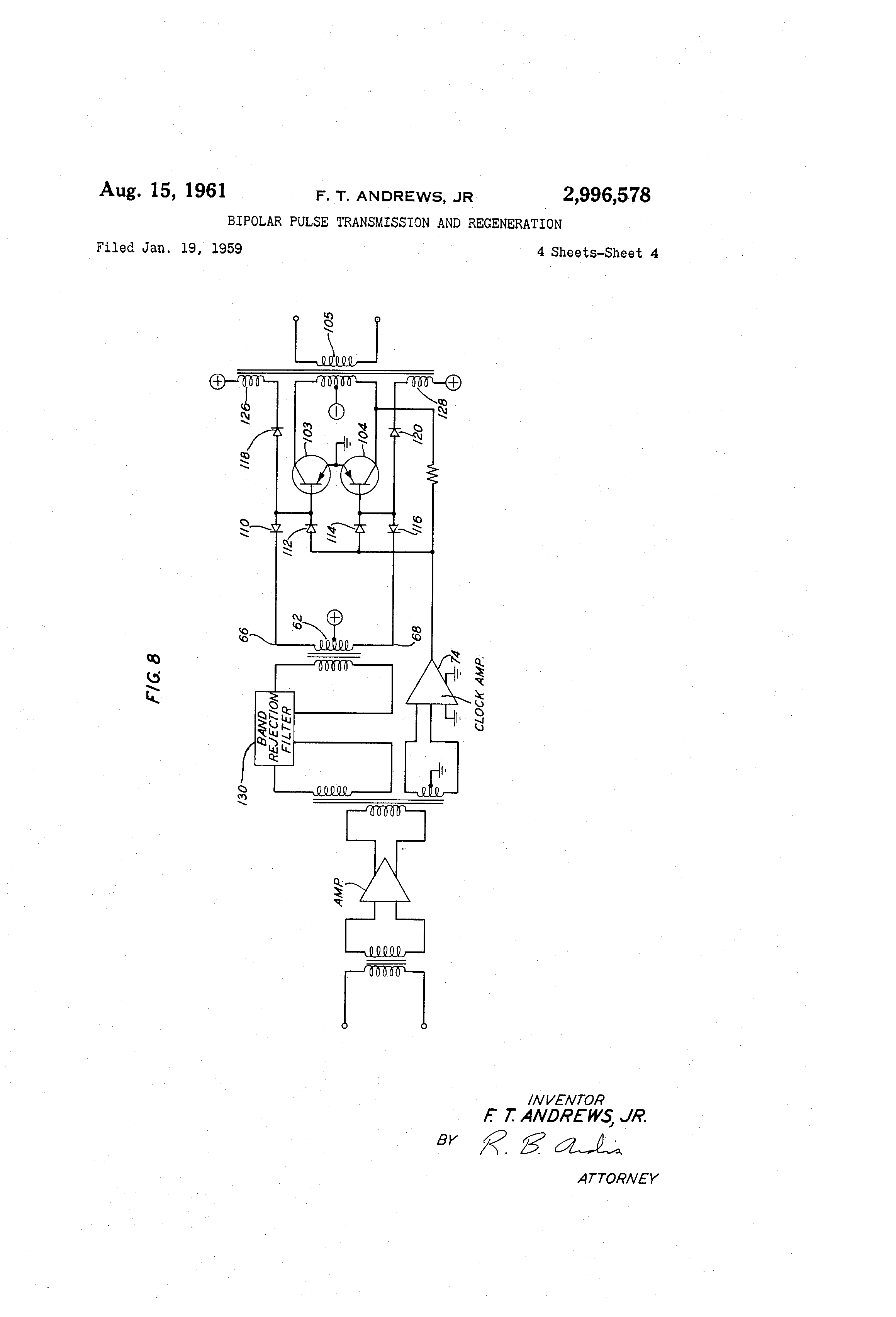 Us2996578 Bipolar Pulse Transmission And Good Pix For Band Reject Filter Circuit Patent Drawing