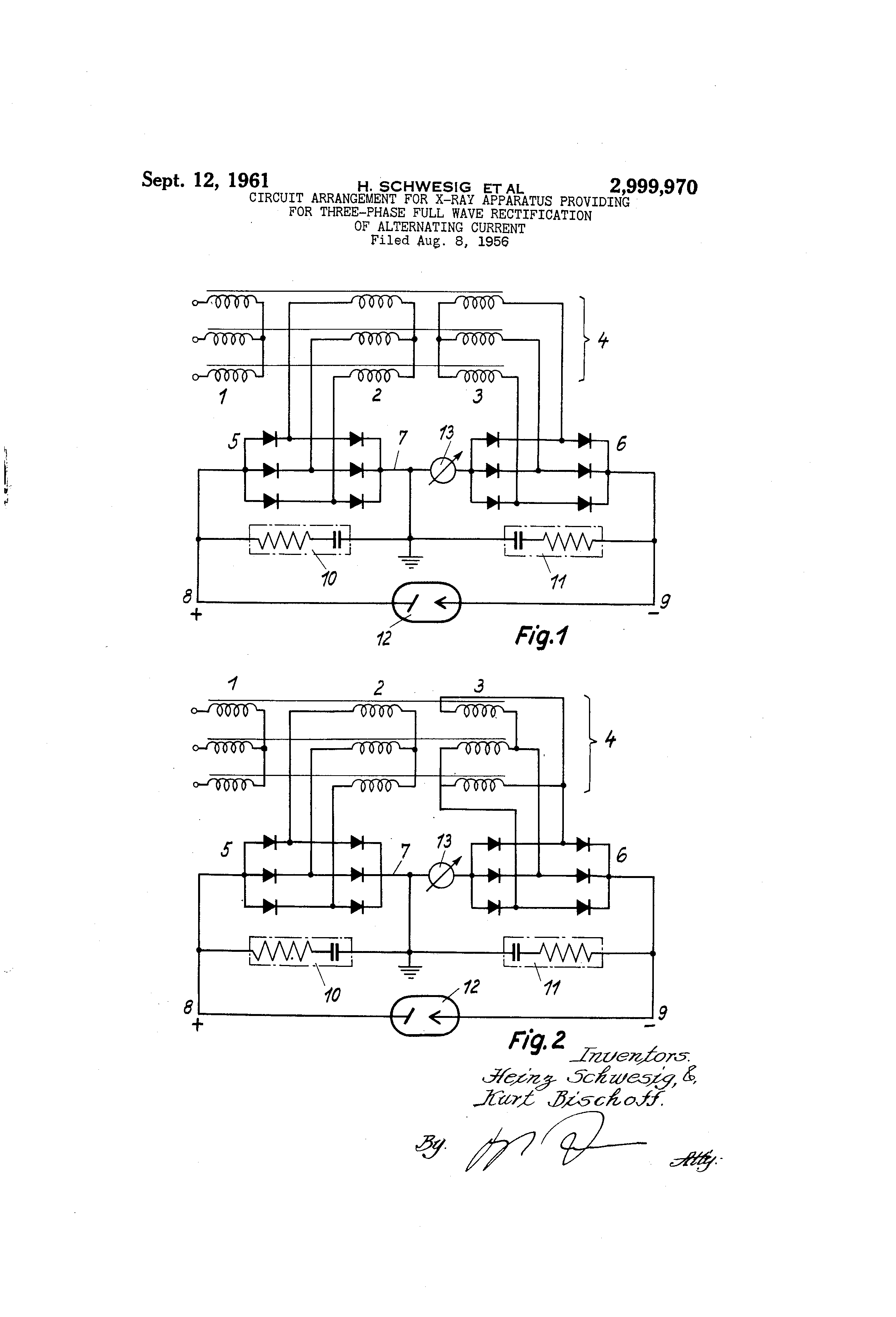 Patent Us2999970 Circuit Arrangement For X Ray Apparatus Providing Phase Half Wave Rectifier On Schematic Three Full Rectification Of Alternating Current Us 2999970 A Abstract Available In Images1