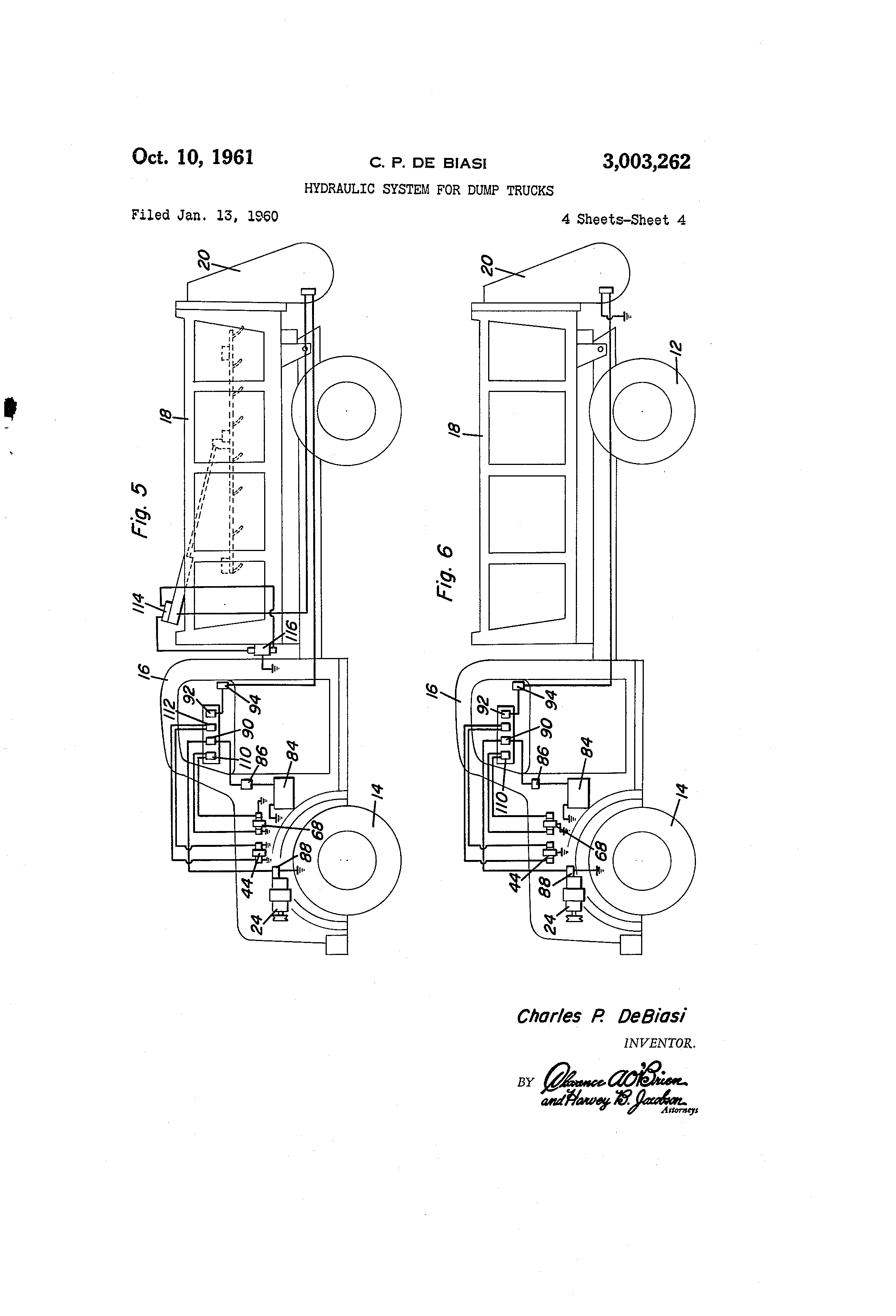 US3003262 3 patent us3003262 hydraulic system for dump trucks google patents Snow Plow E60 Wiring-Diagram at bayanpartner.co