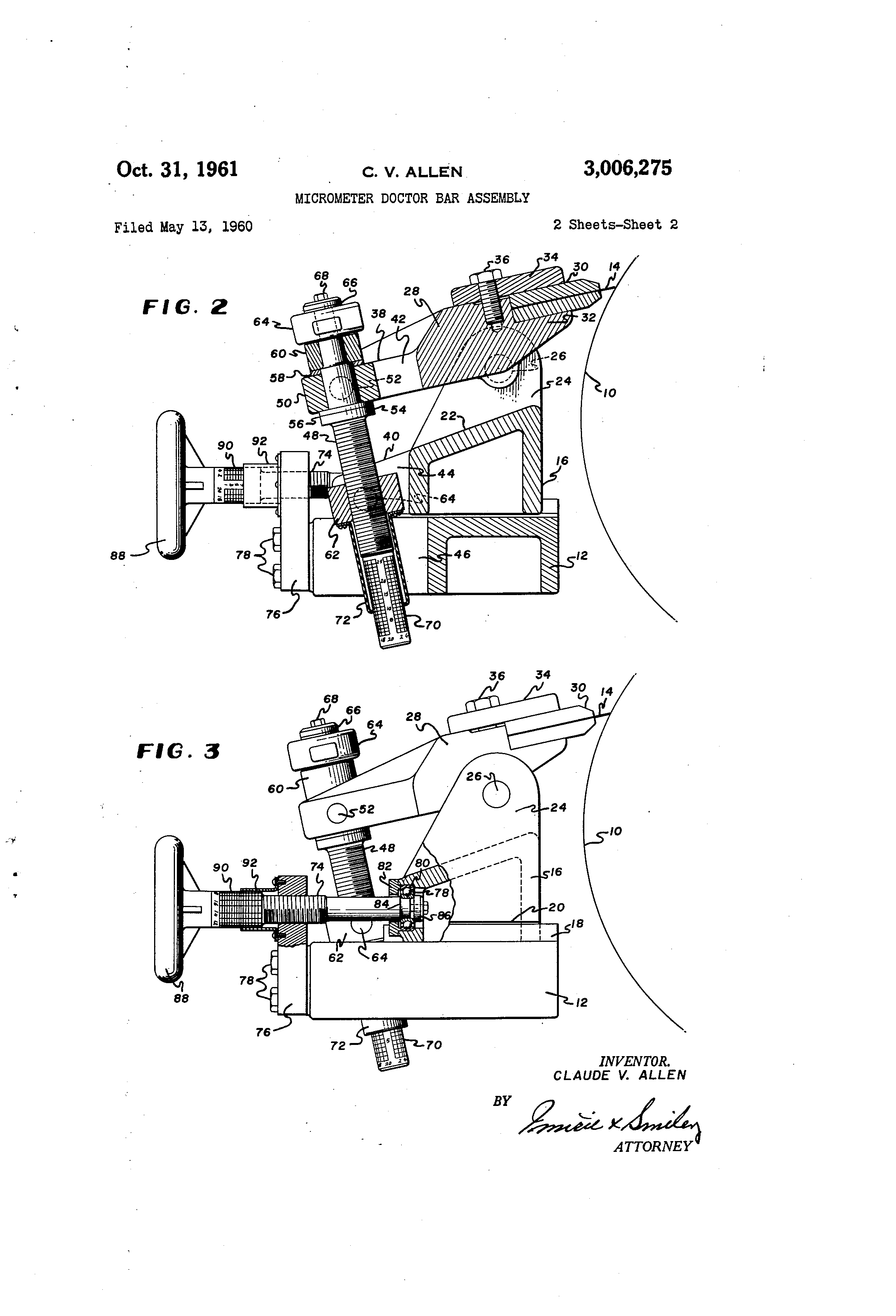 Patent US3006275 - Micrometer doctor bar assembly - Google