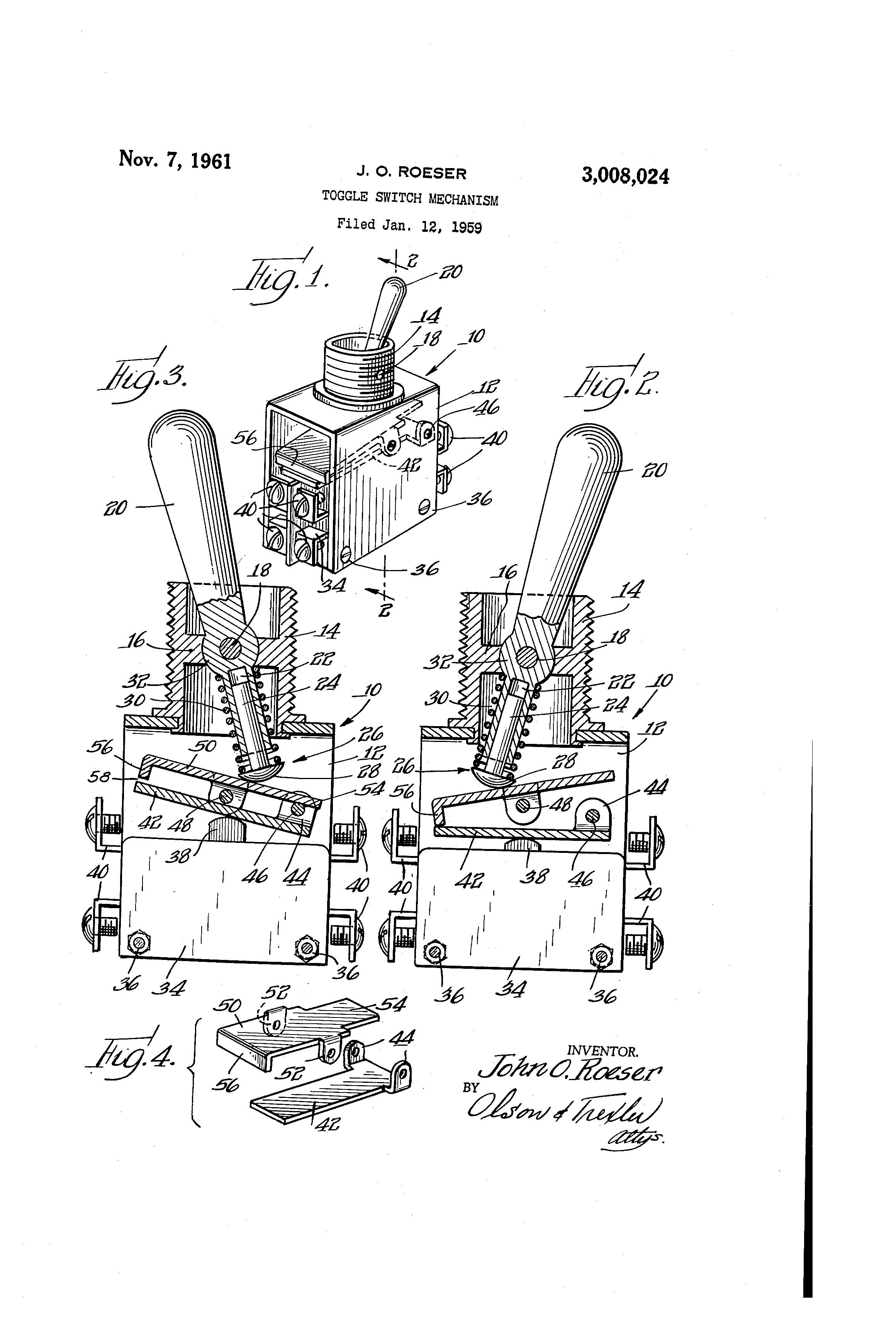 patent us3008024 - toggle switch mechanism