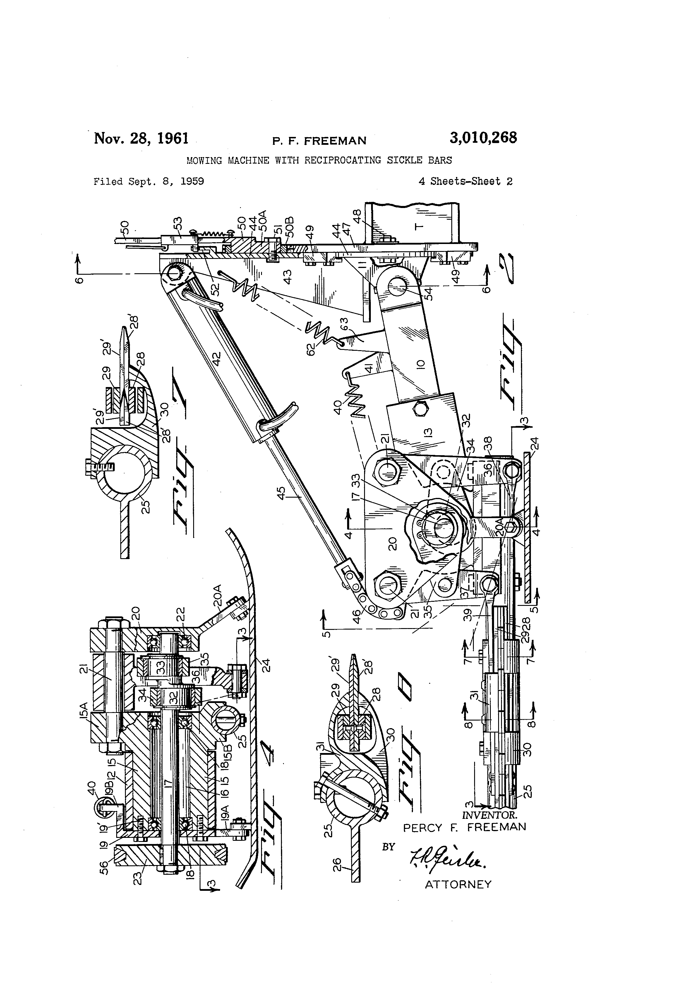 Patent US3010268 - Mowing machine with reciprocating sickle