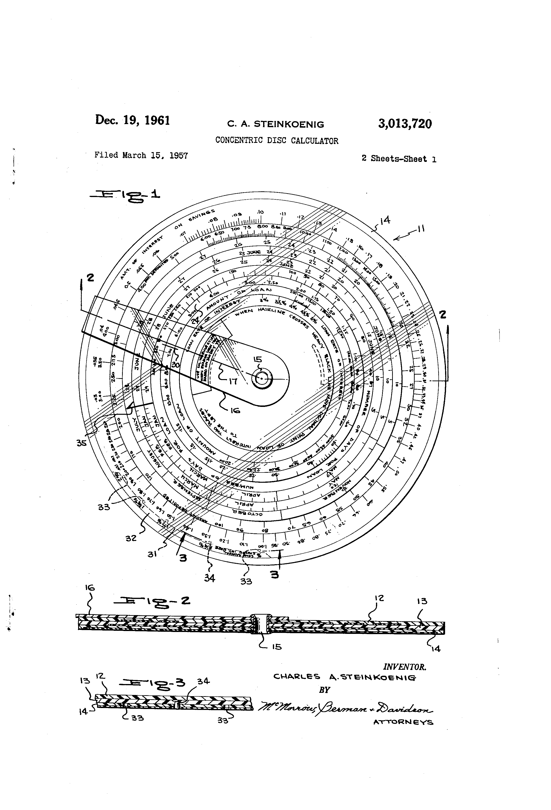 Patent Us3013720 Concentric Disc Calculator Google Patents