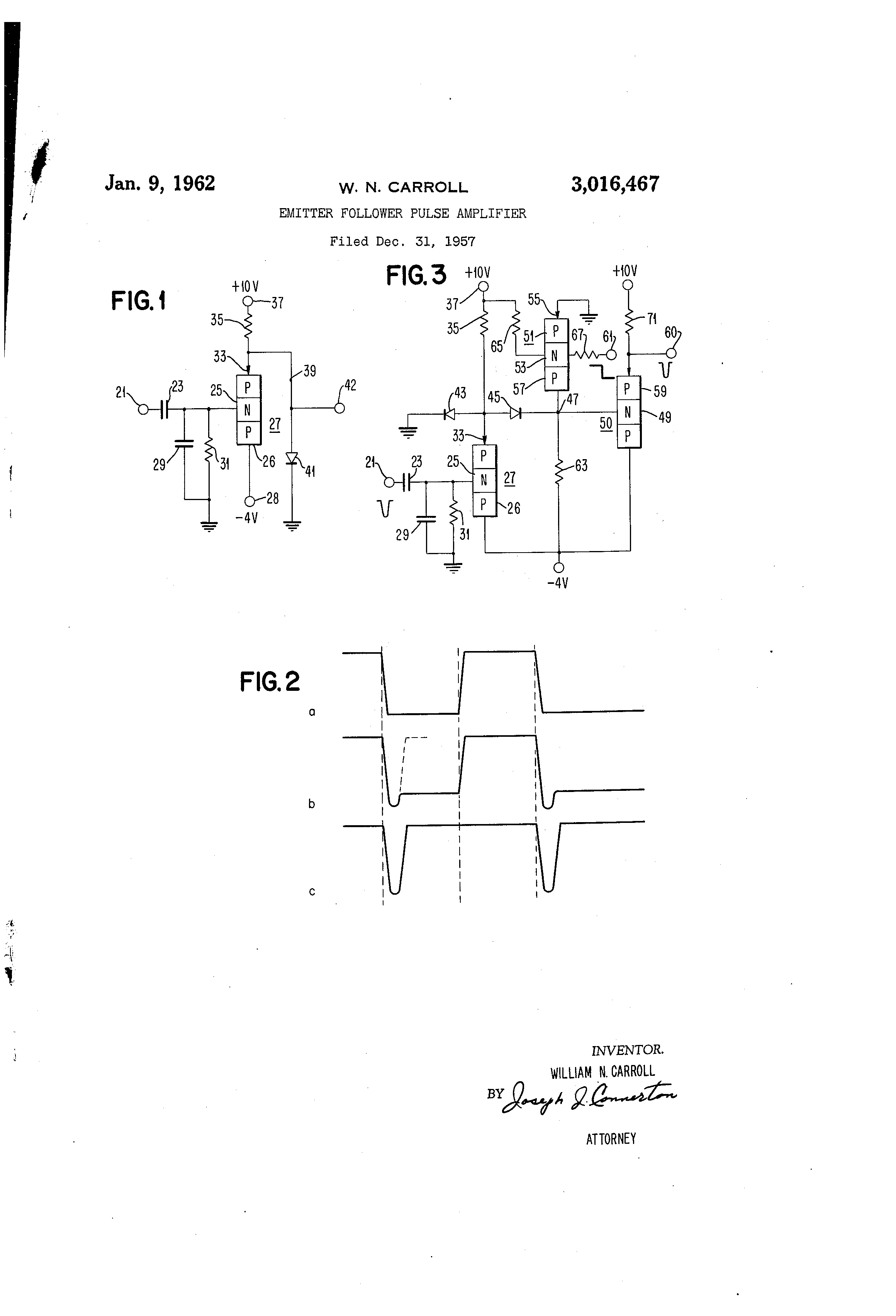 Patent Us3016467 Emitter Follower Pulse Amplifier Google Patents Circuit Drawing