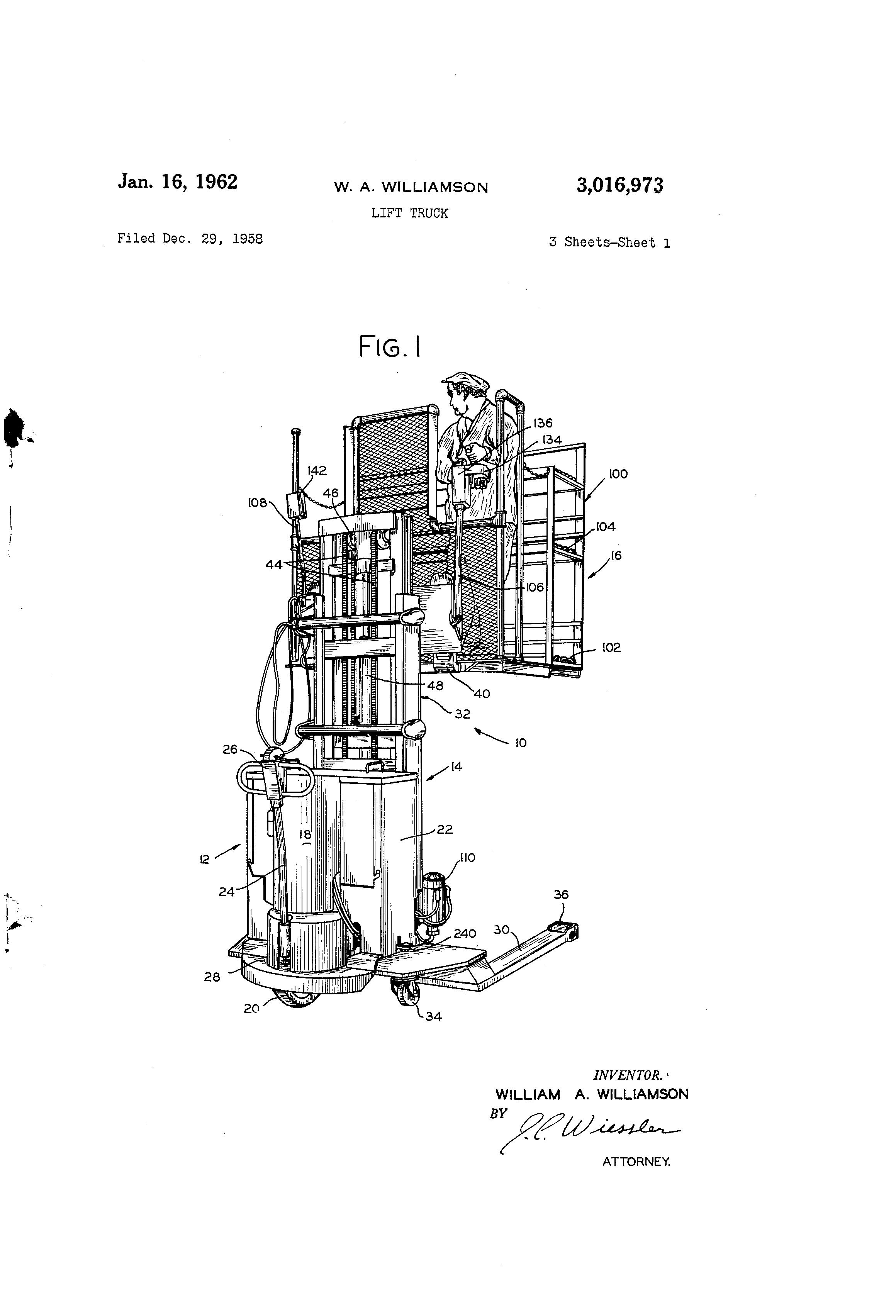 US3016973 0 patent us3016973 lift truck google patents lansing bagnall forklift wiring diagram at alyssarenee.co