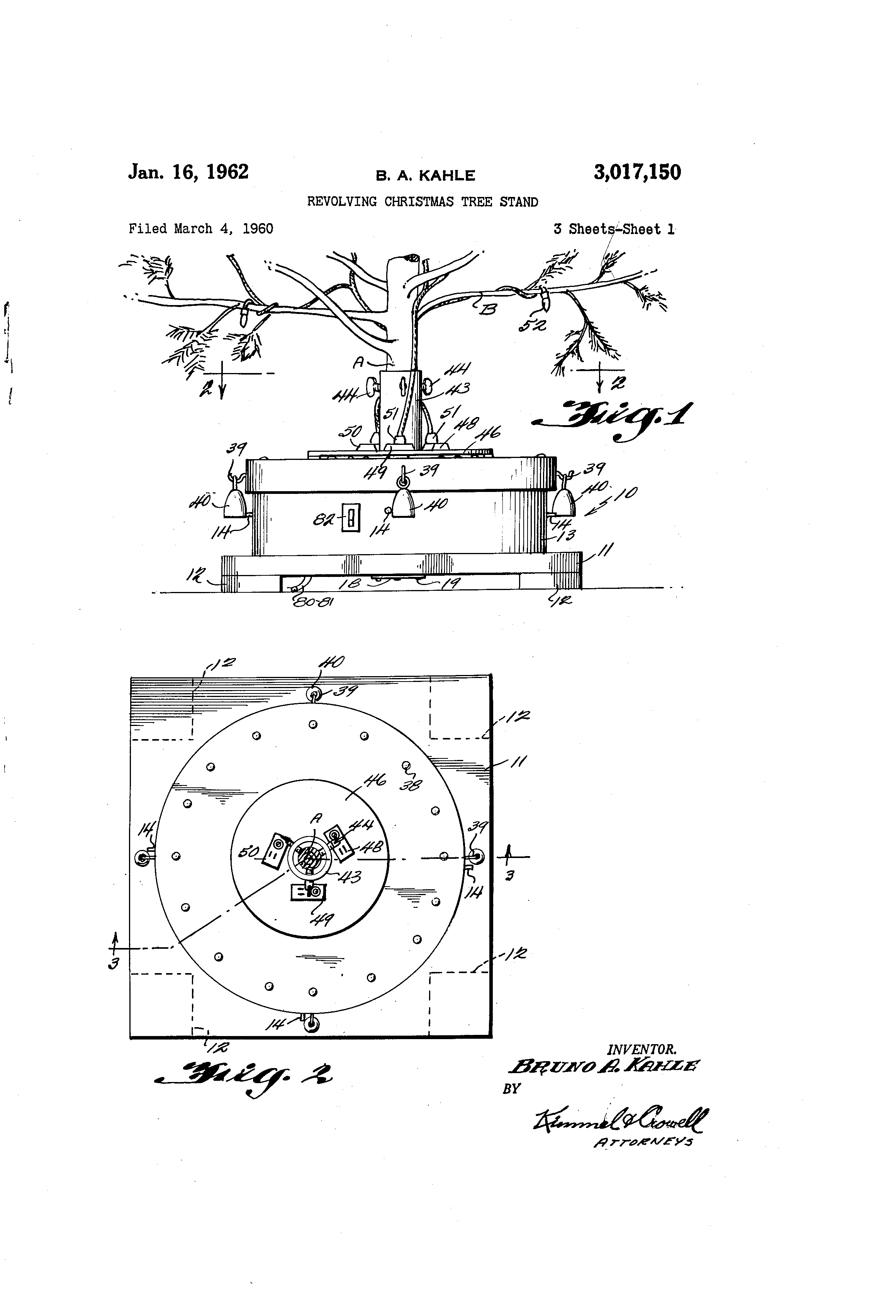 Awesome Patent Us3017150 Revolving Christmas Tree Stand Google Patents Easy Diy Christmas Decorations Tissureus