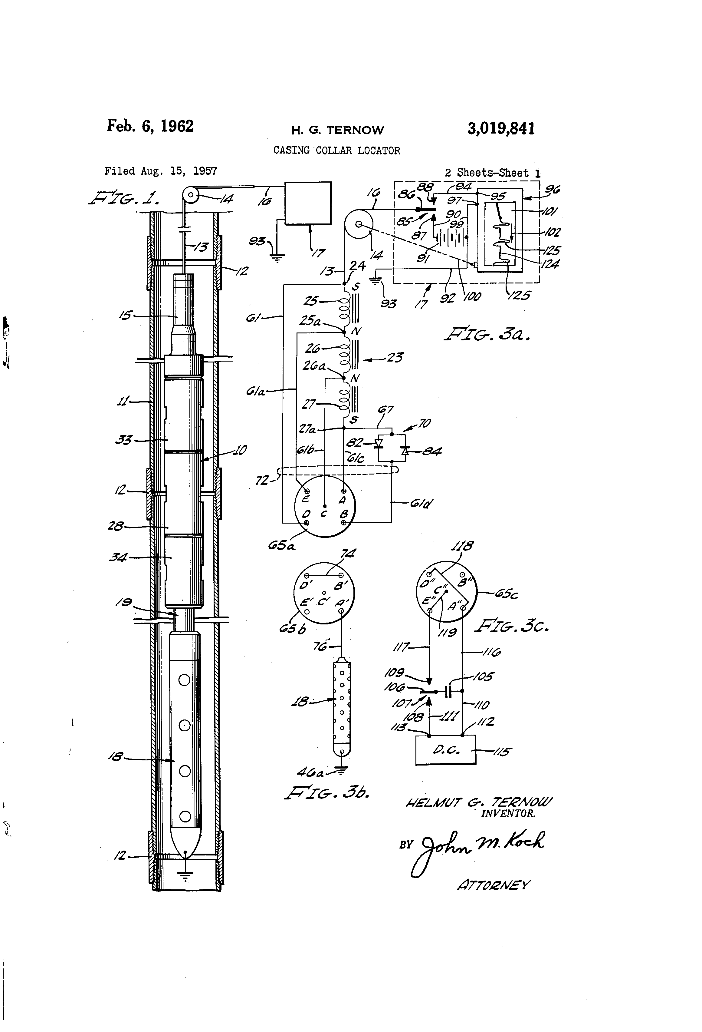 patent us3019841 - casing collar locator