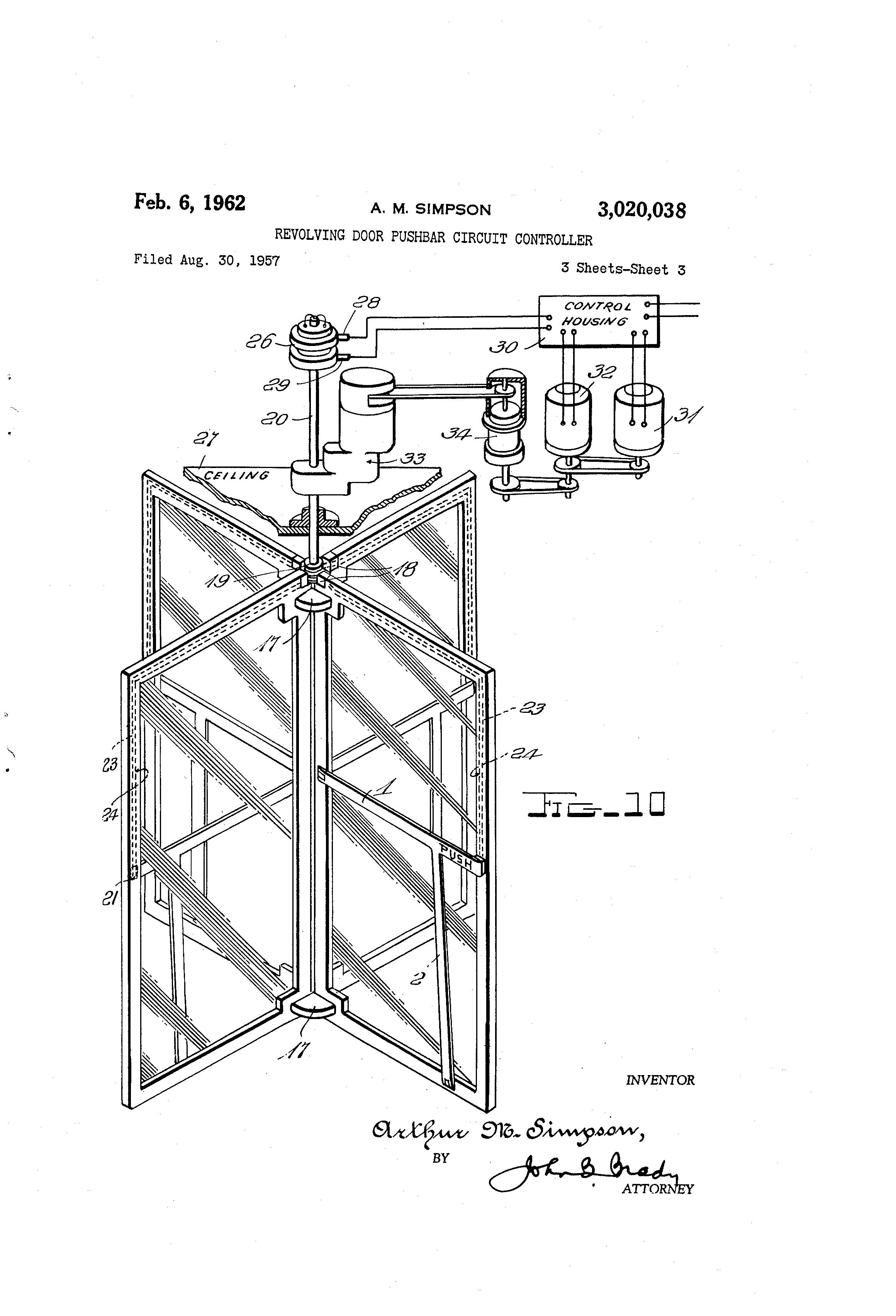 Patent Us3020038 Revolving Door Pushbar Circuit
