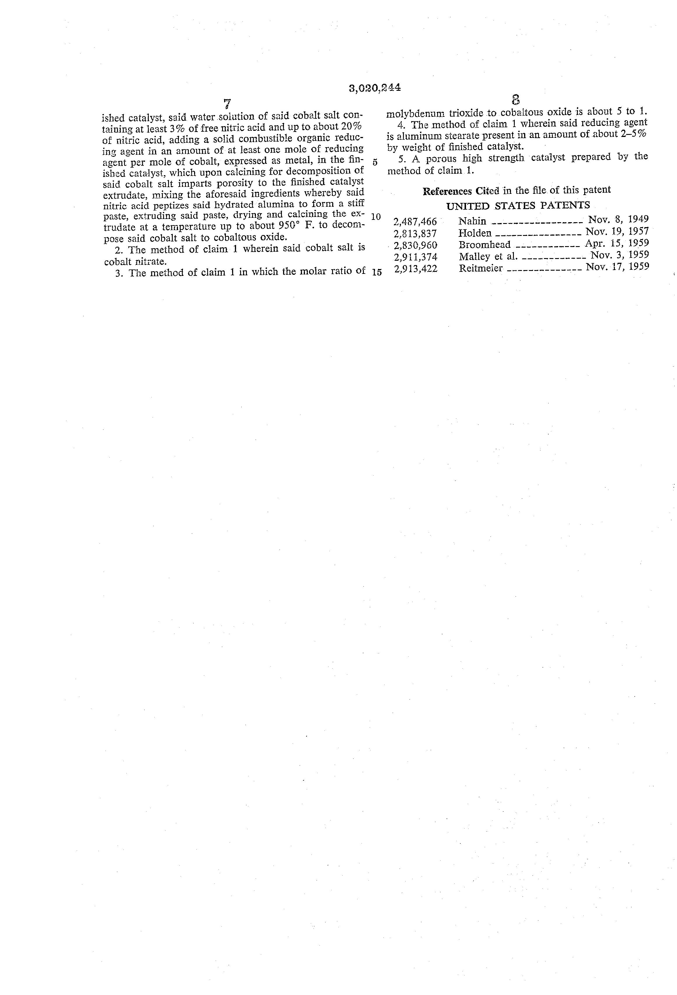 Brevet US3020244 - Preparation of homogeneous catalysts