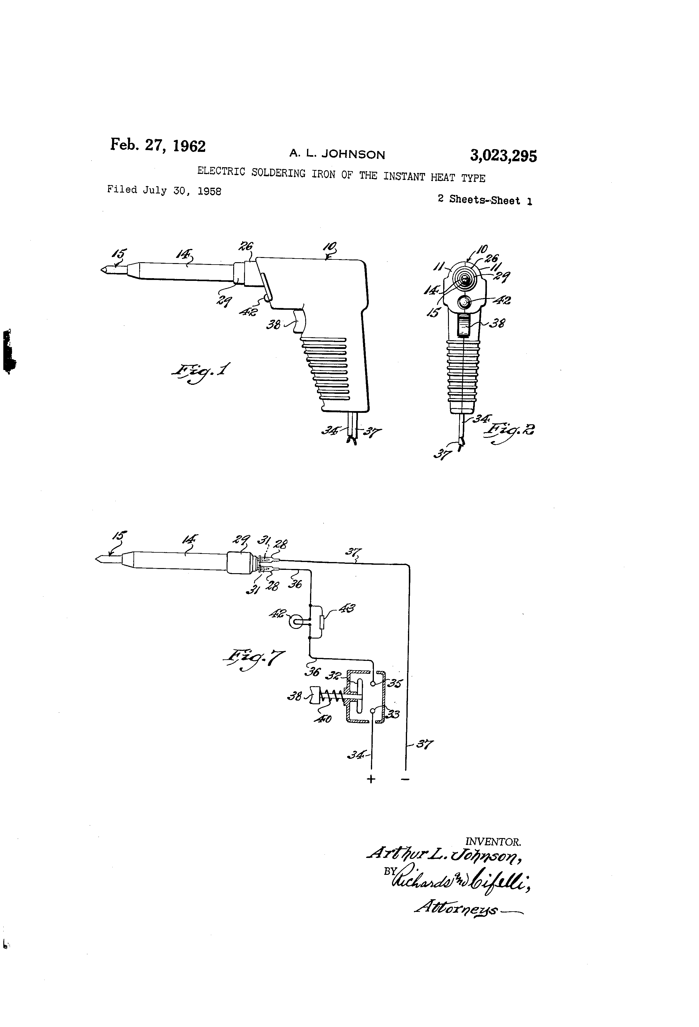 patent us electric ering iron of the instant heat patent drawing