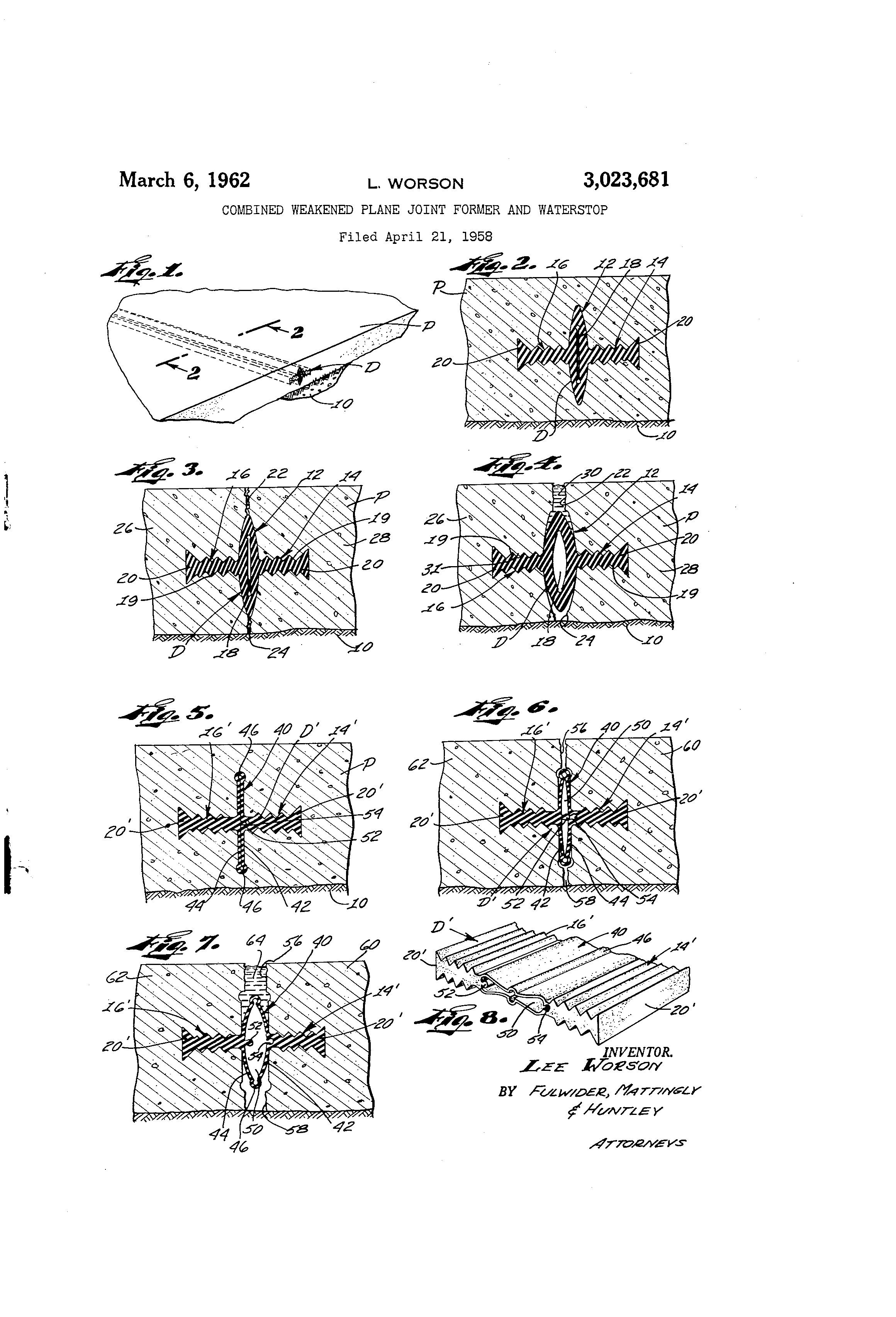 Patent us combined weakened plane joint former