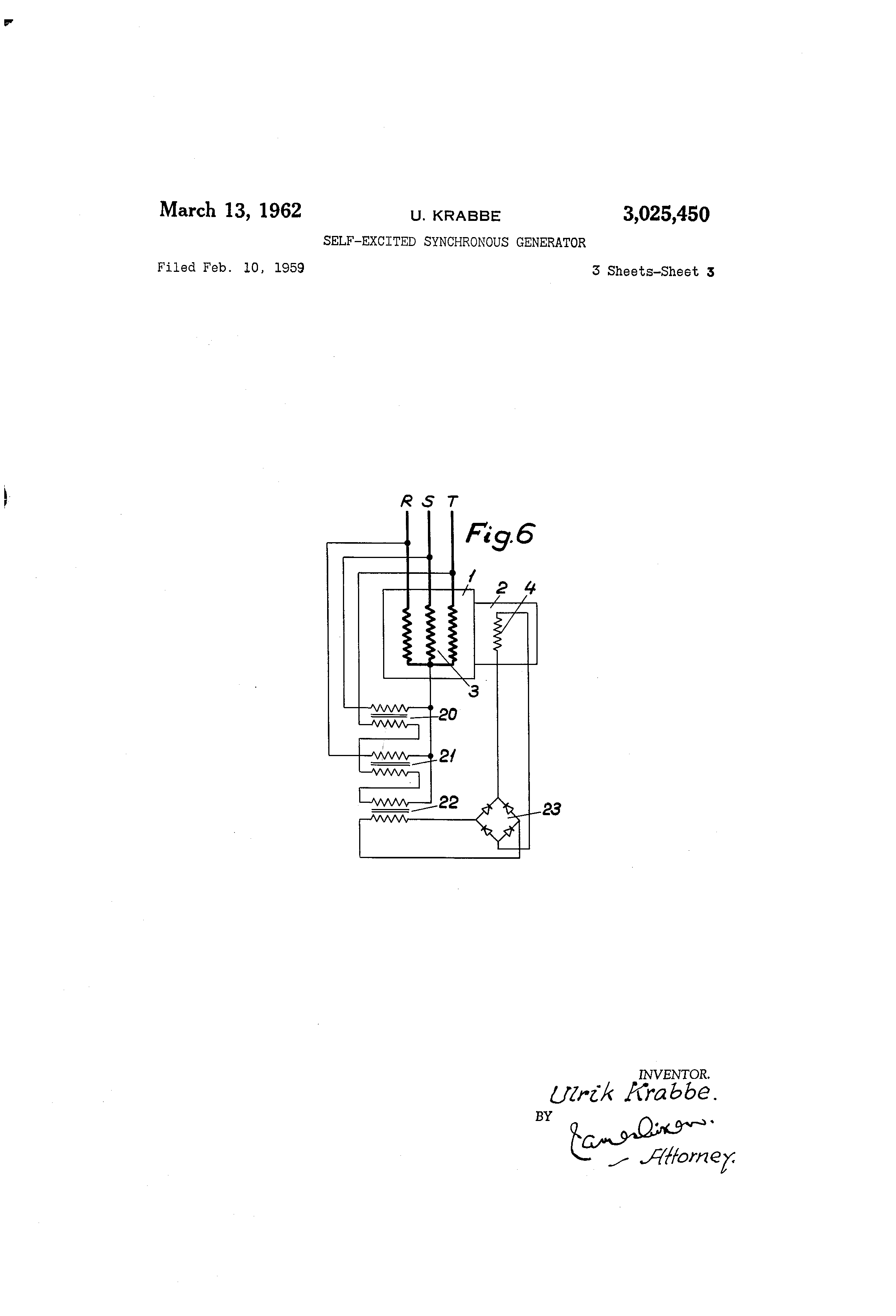 Patent Us3025450 Self Excited Synchronous Generator Google Shortcircuit Current Across The Terminals Of A Drawing