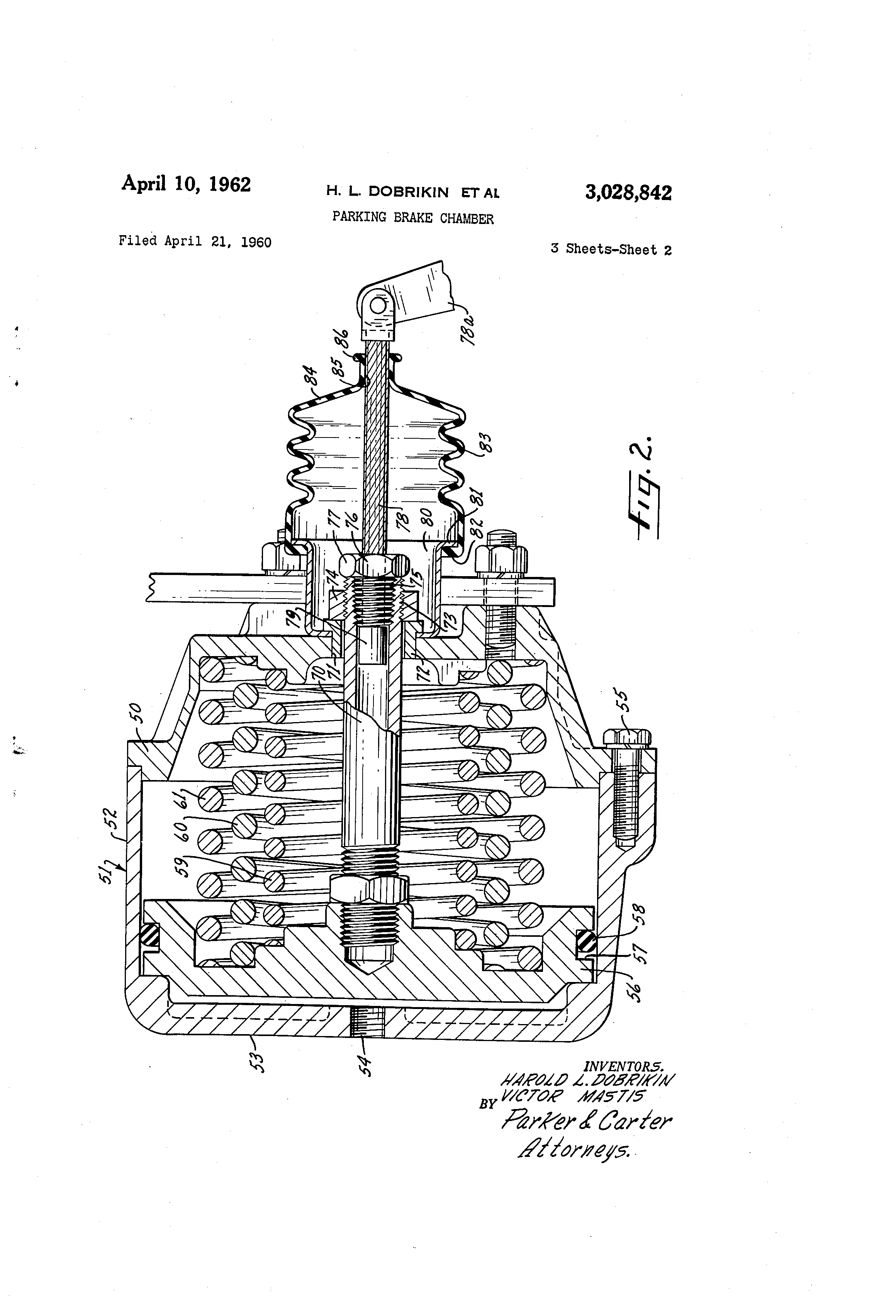 Patent Us3028842 Parking Brake Chamber Google Patents 302 Engine Diagram 20 Piston Drawing