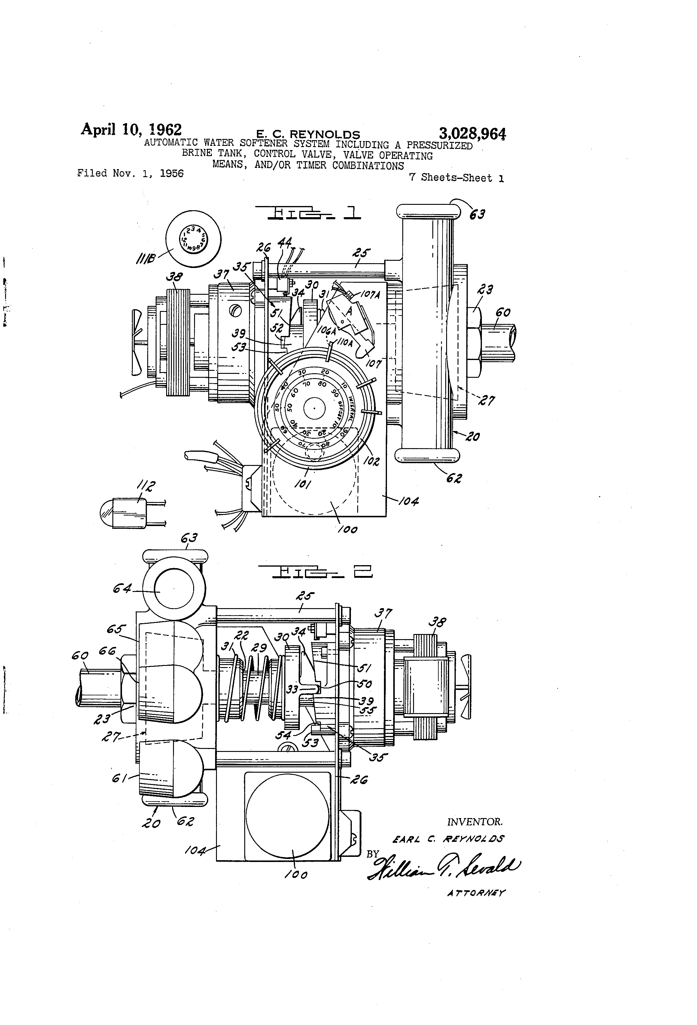 Patent Us3028964 Automatic Water Softener System Including A Wiring Schematic Drawing