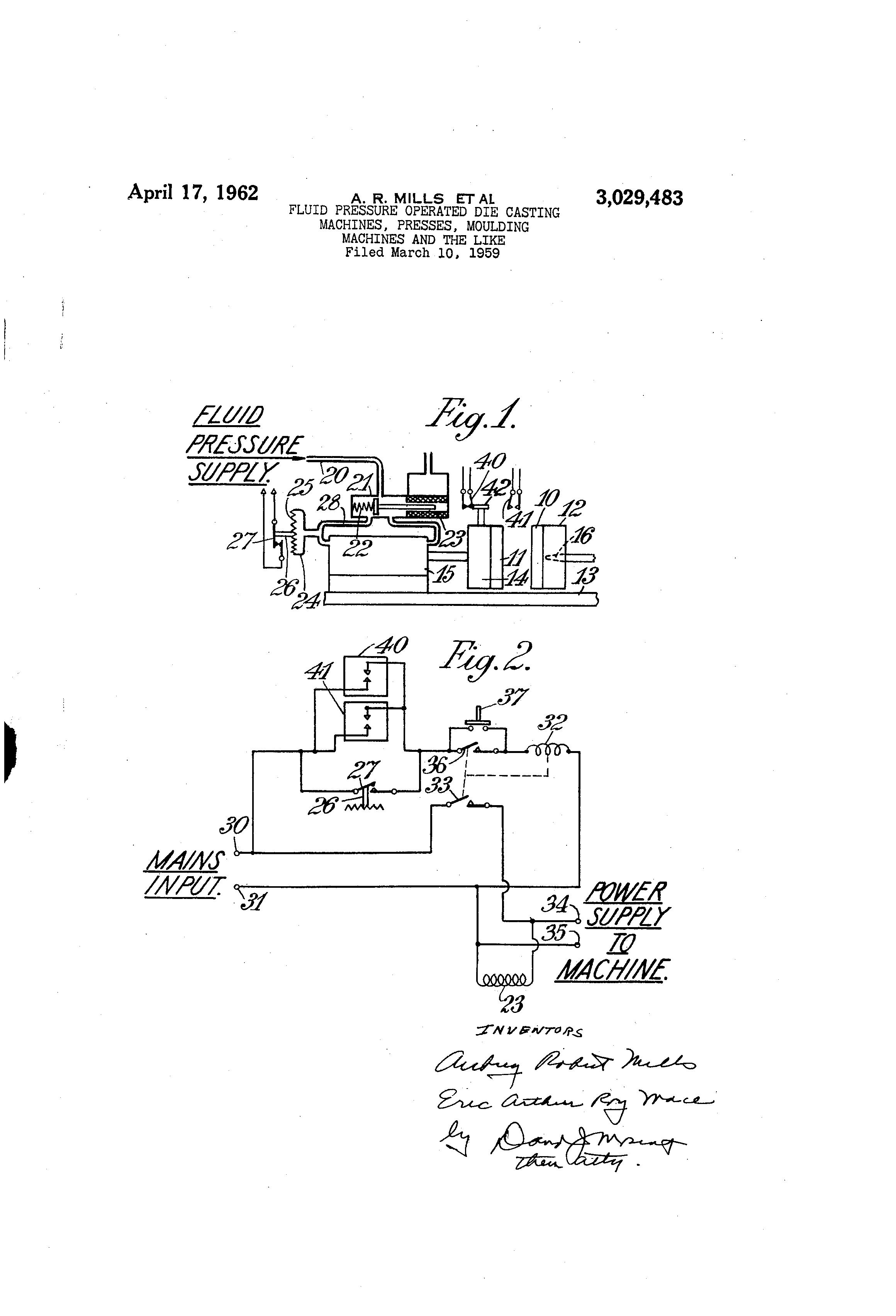 Patent US3029483 - Fluid pressure operated die casting