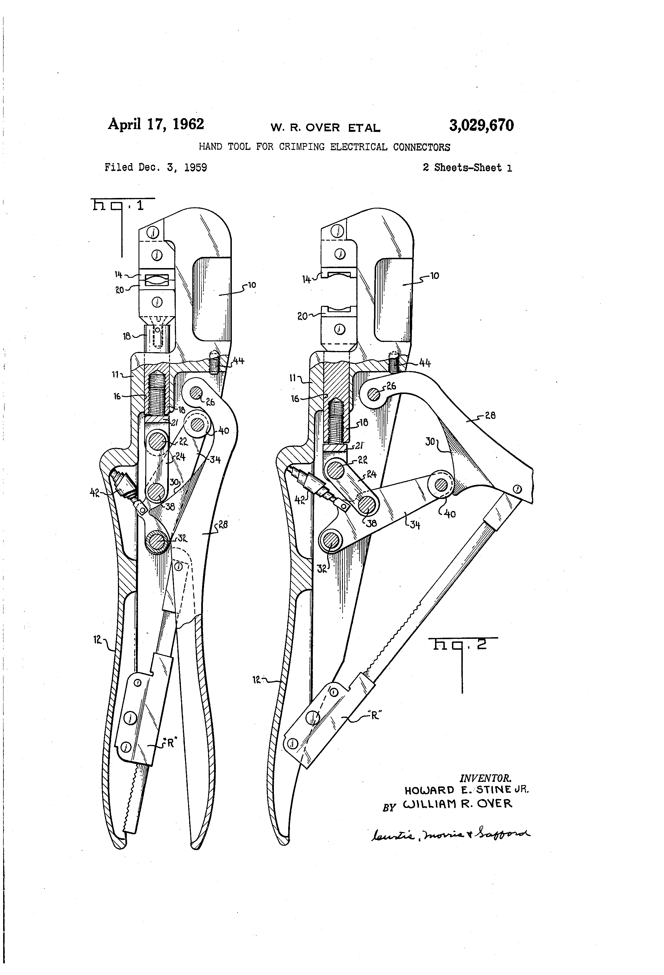 Patent Us3029670 Hand Tool For Crimping Electrical