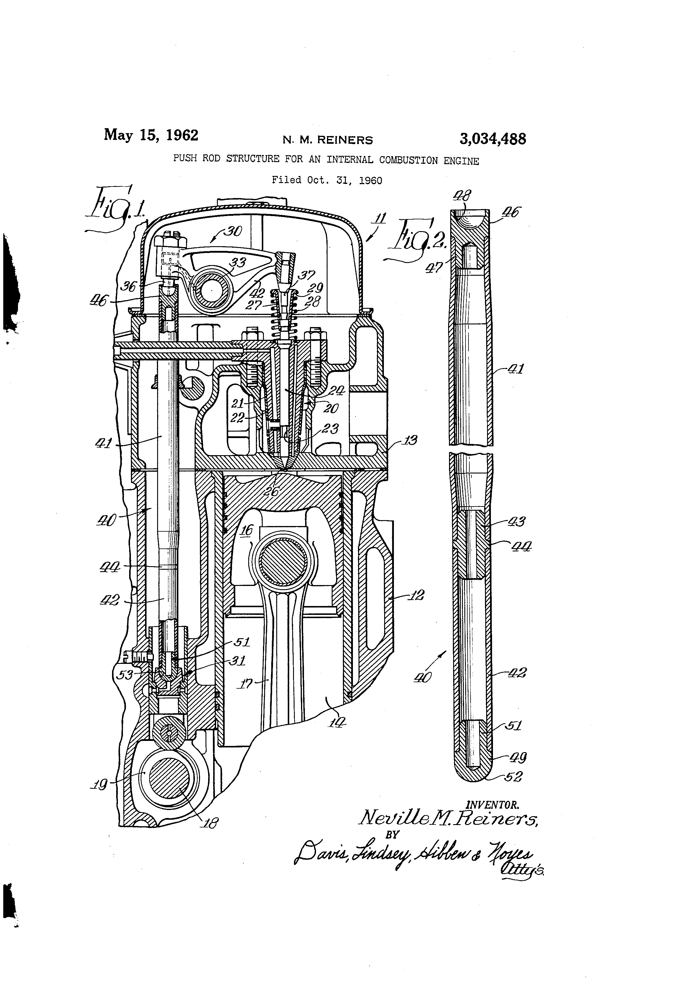 patent us3034488 - push rod structure for an internal combustion engine