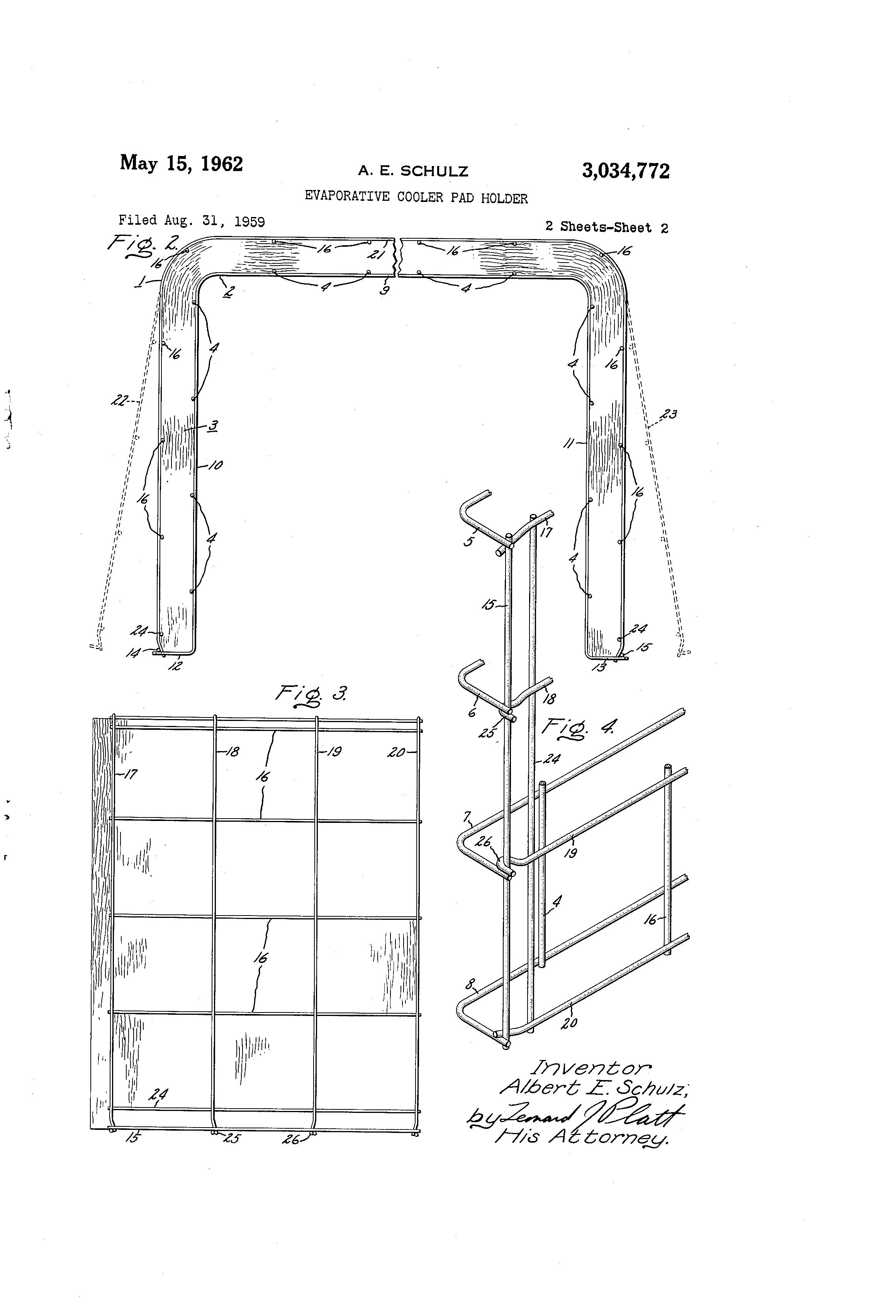 patent us3034772 evaporative cooler pad holder google patents patent drawing