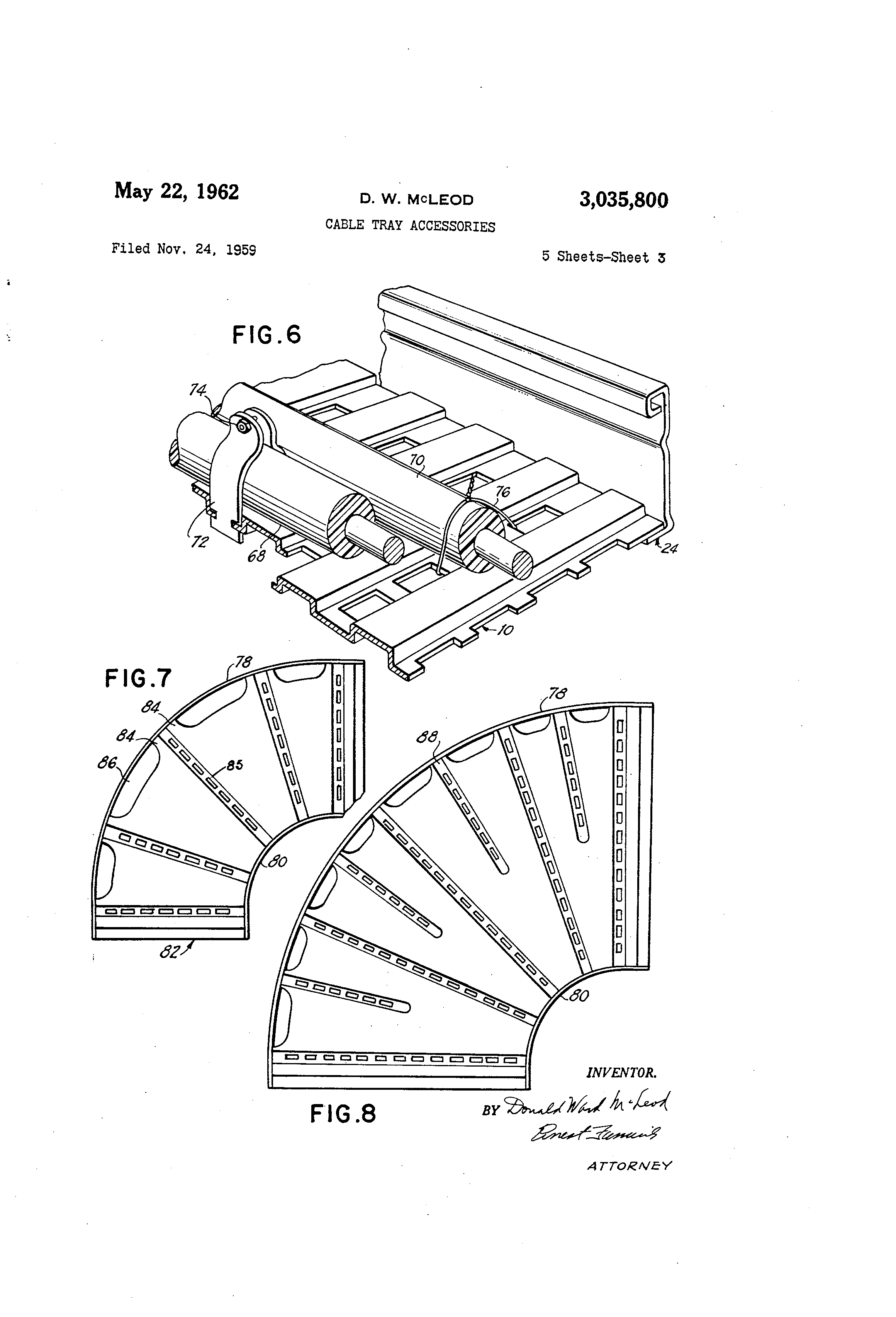 patent us3035800 - cable tray accessories