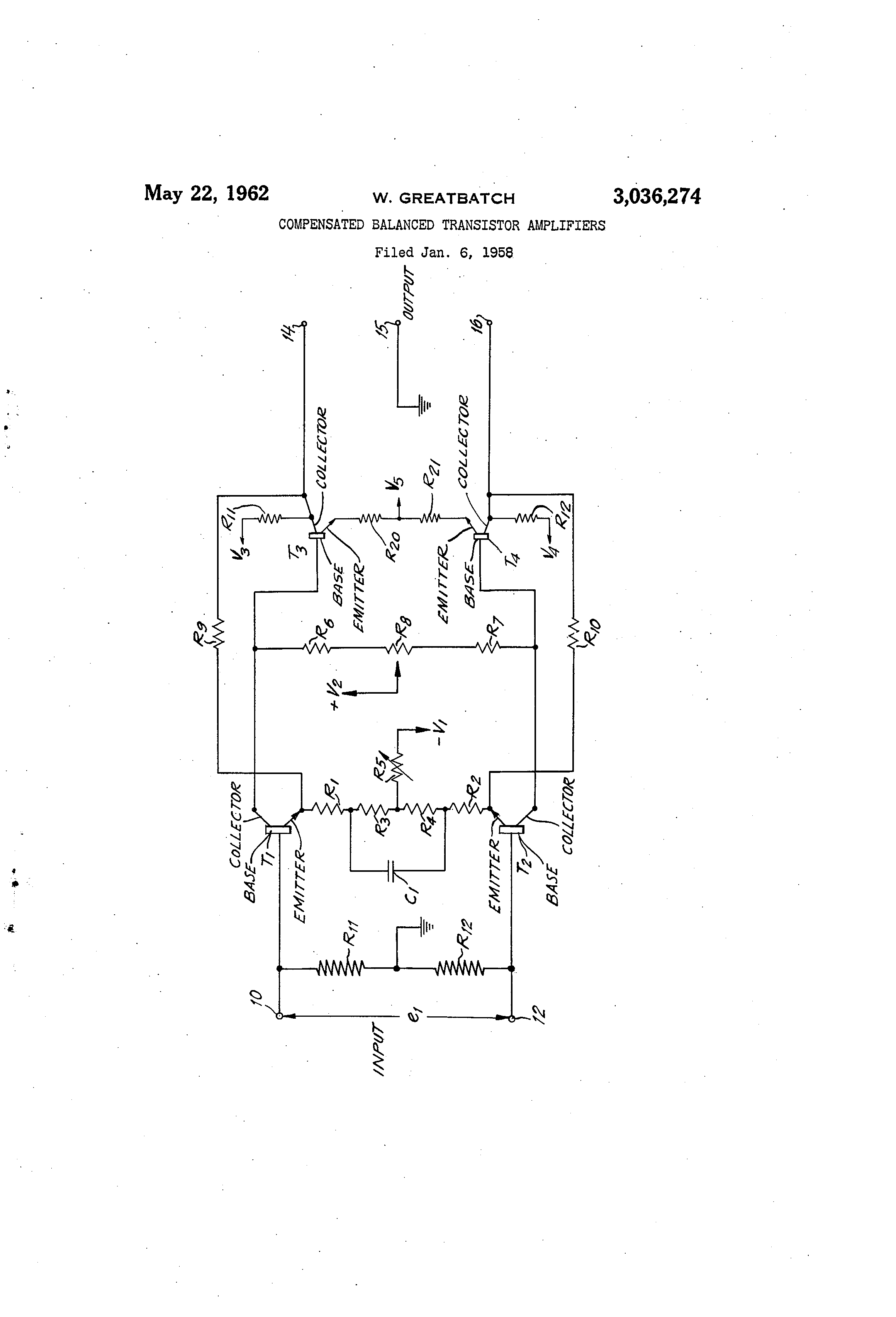 Patent Us3036274 Compensated Balanced Transistor Amplifiers Drawing