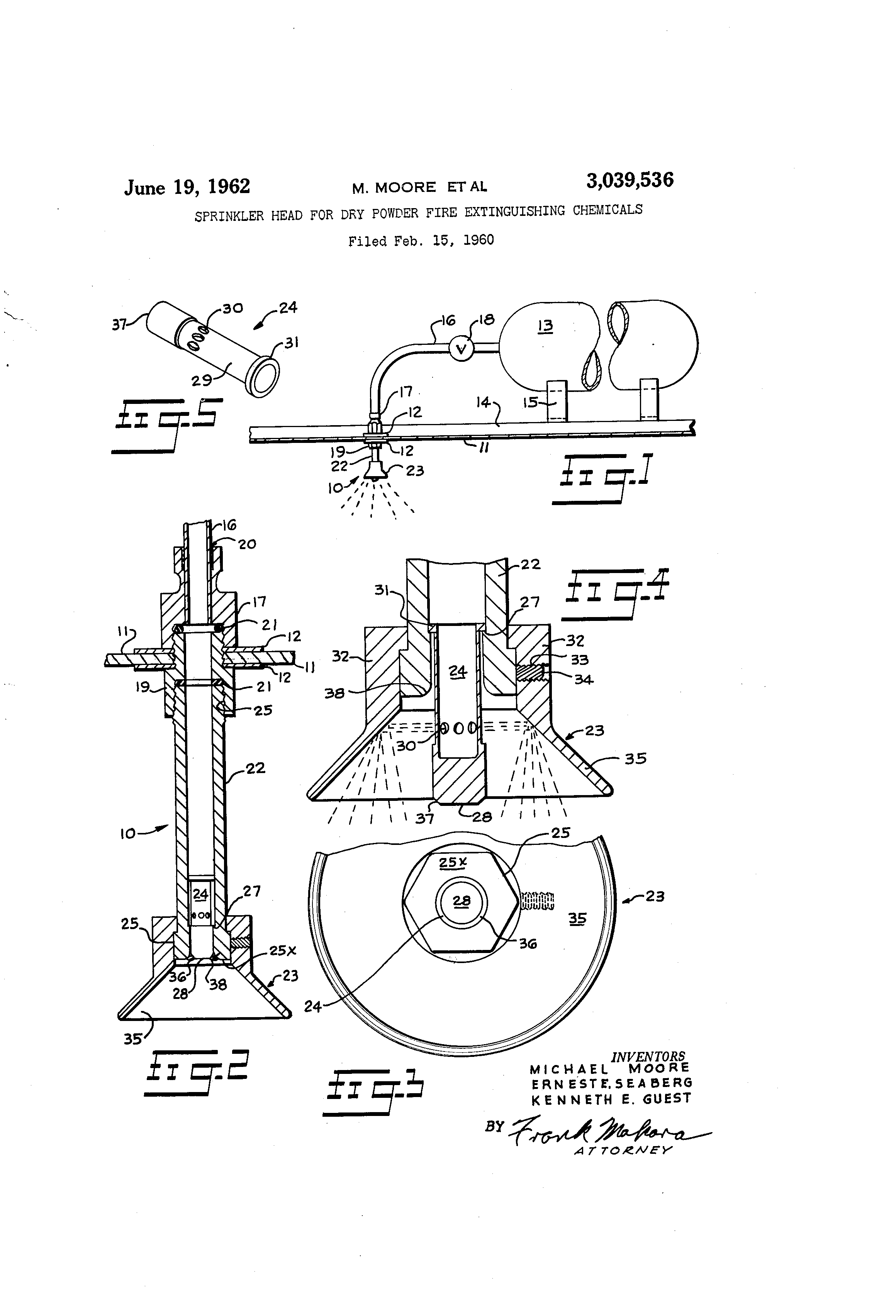 Patent US3039536 - Sprinkler head for dry powder fire