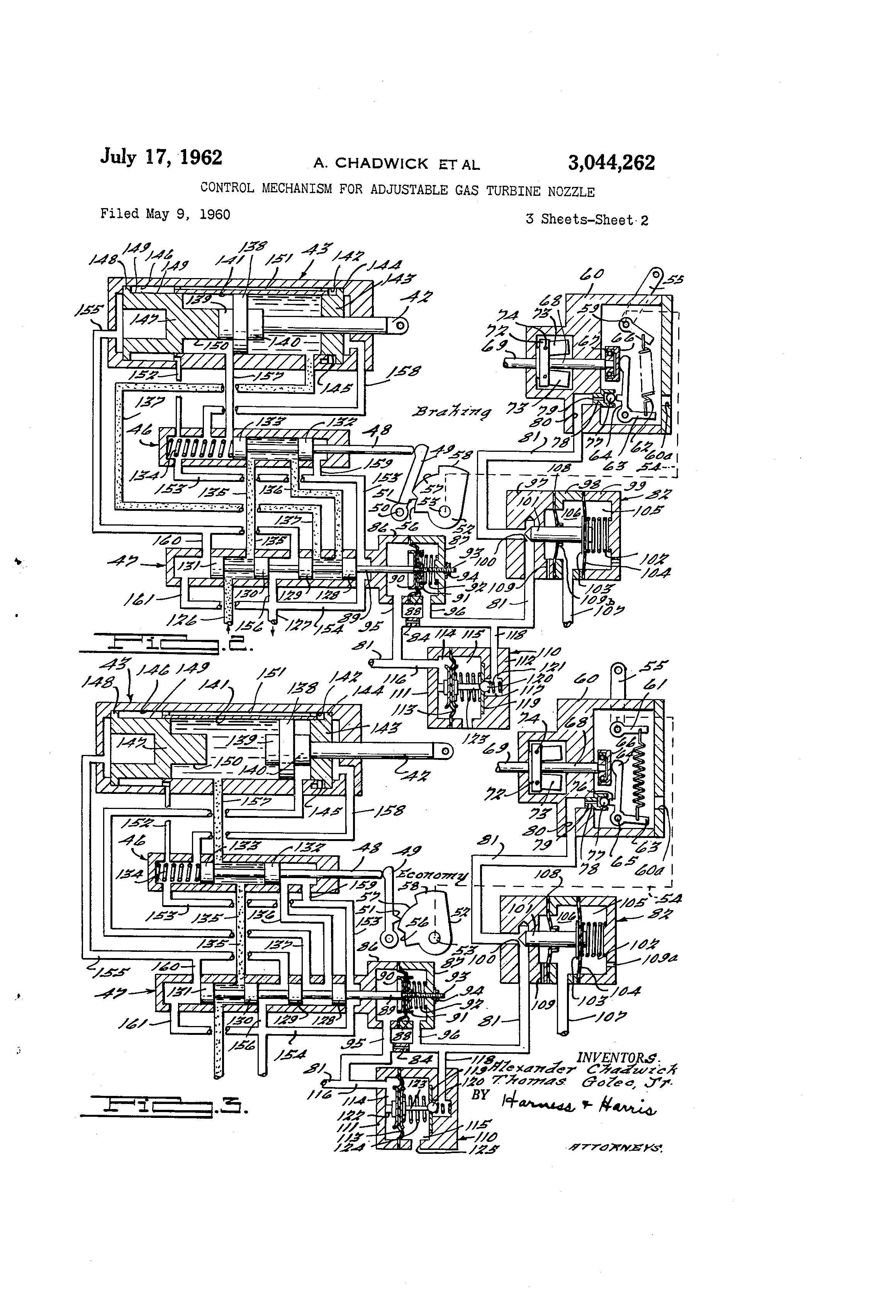 Patent US Control mechanism for adjustable gas turbine
