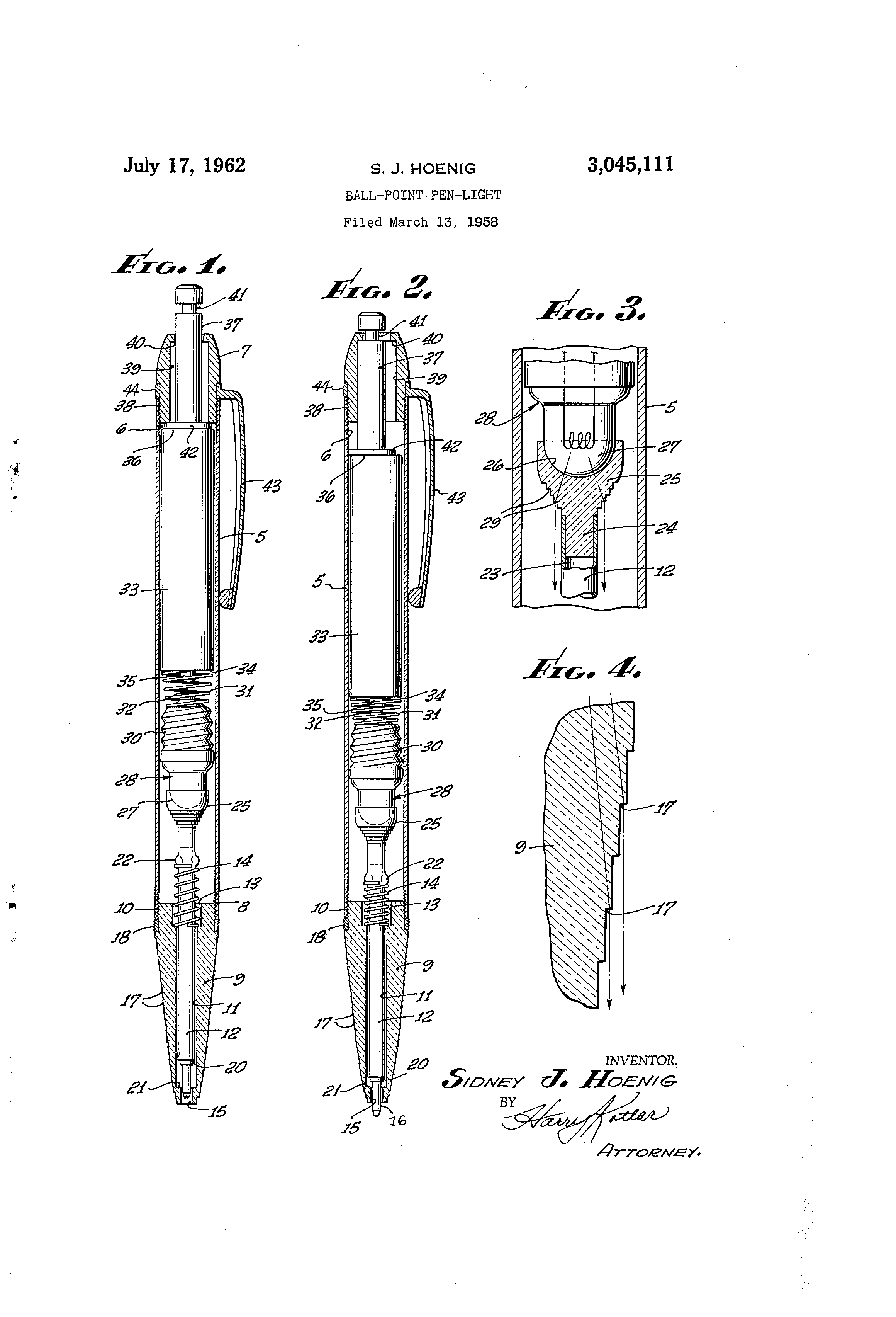 patent us3045111 - ball-point pen-light