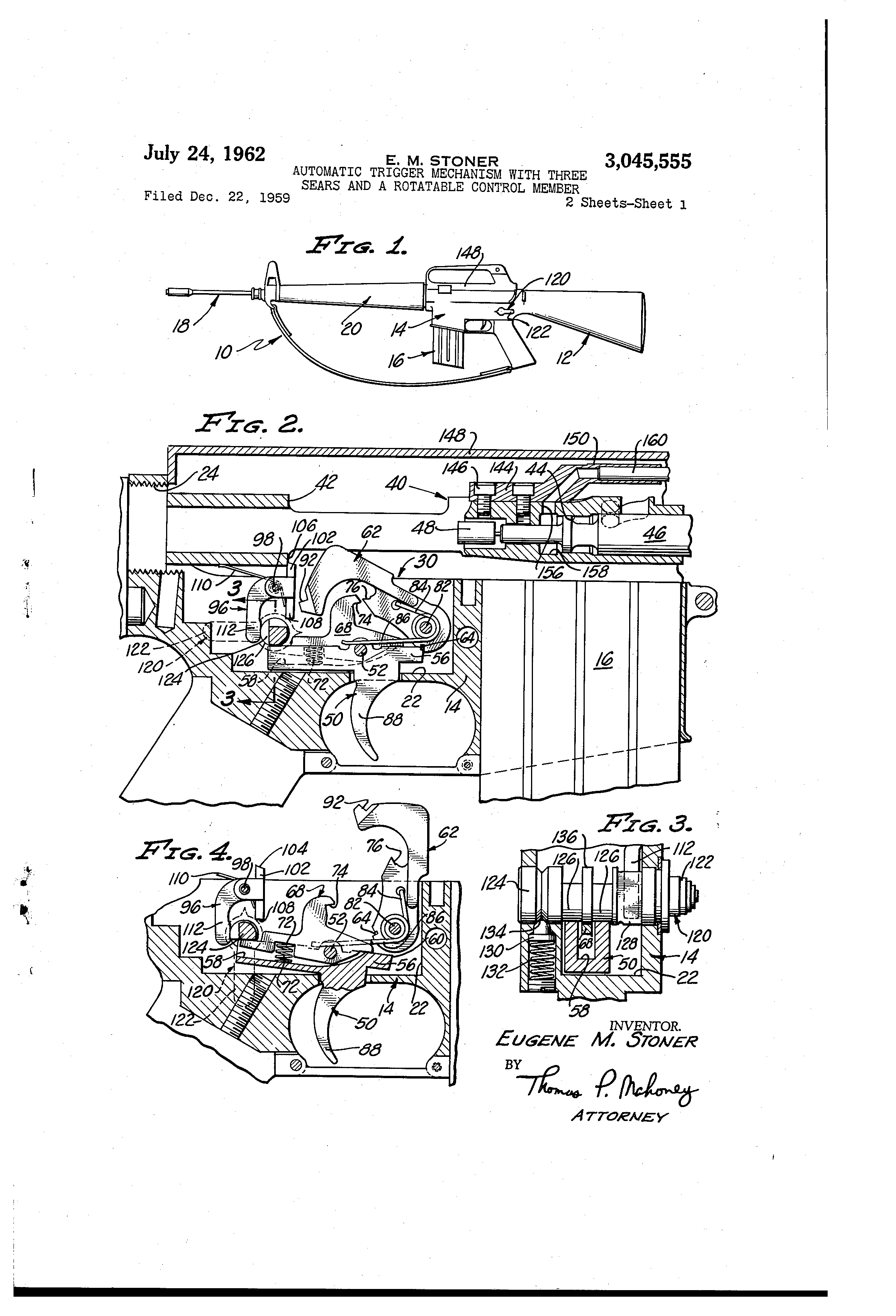 Patent US3045555 - Automatic trigger mechanism with three sears and a ...