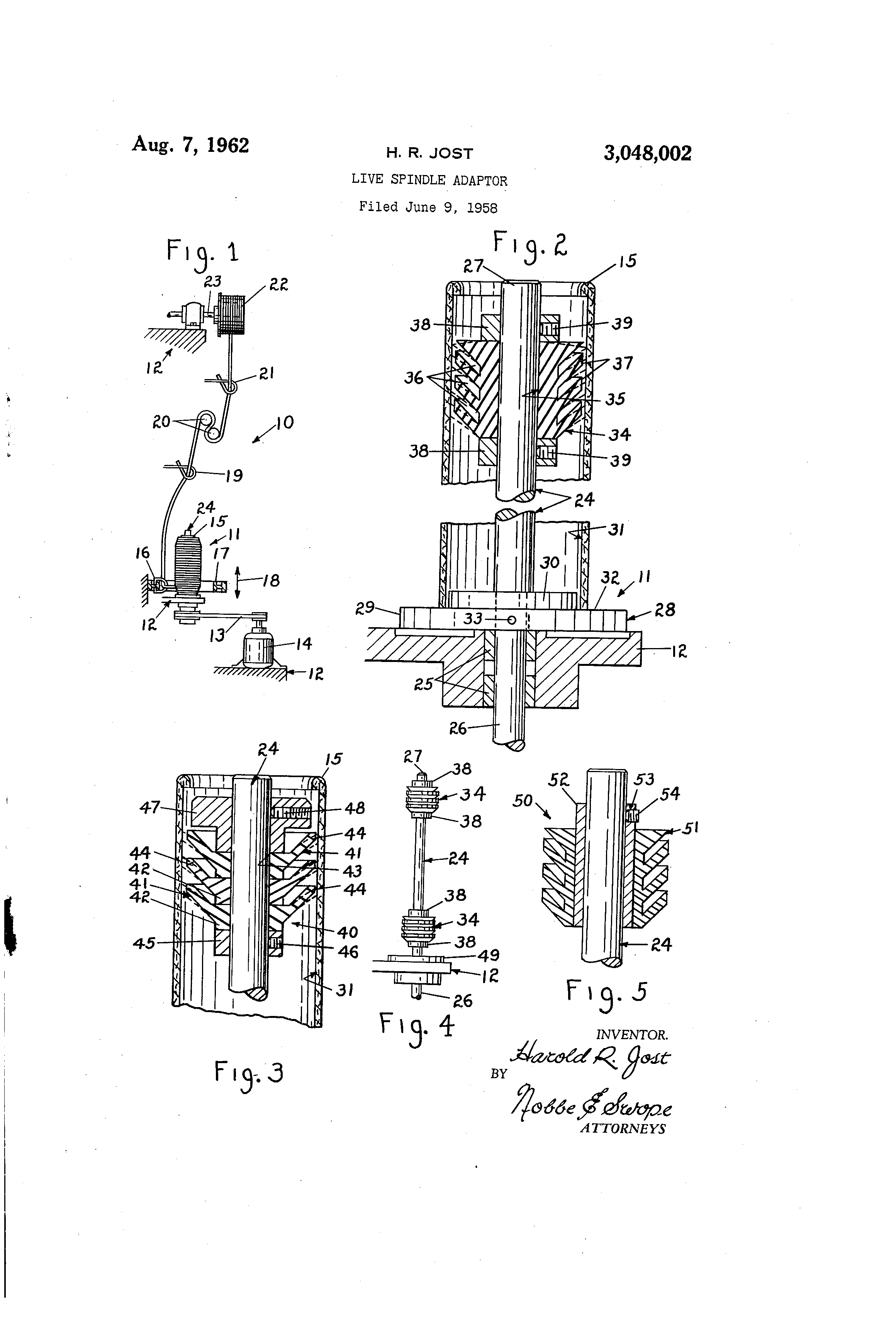 Patent US3048002 - Live spindle adaptor - Google Patents