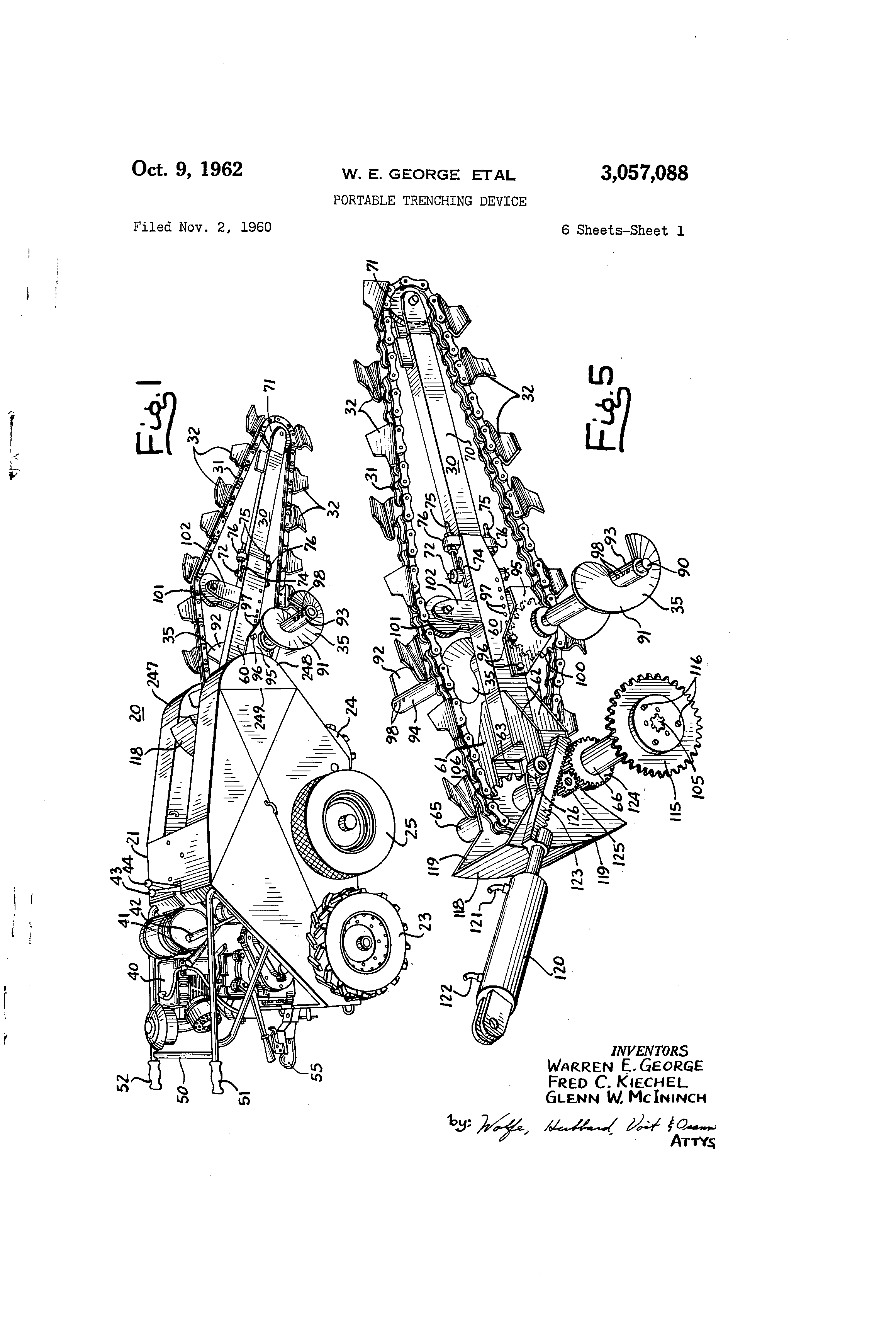 patent us3057088 - portable trenching device