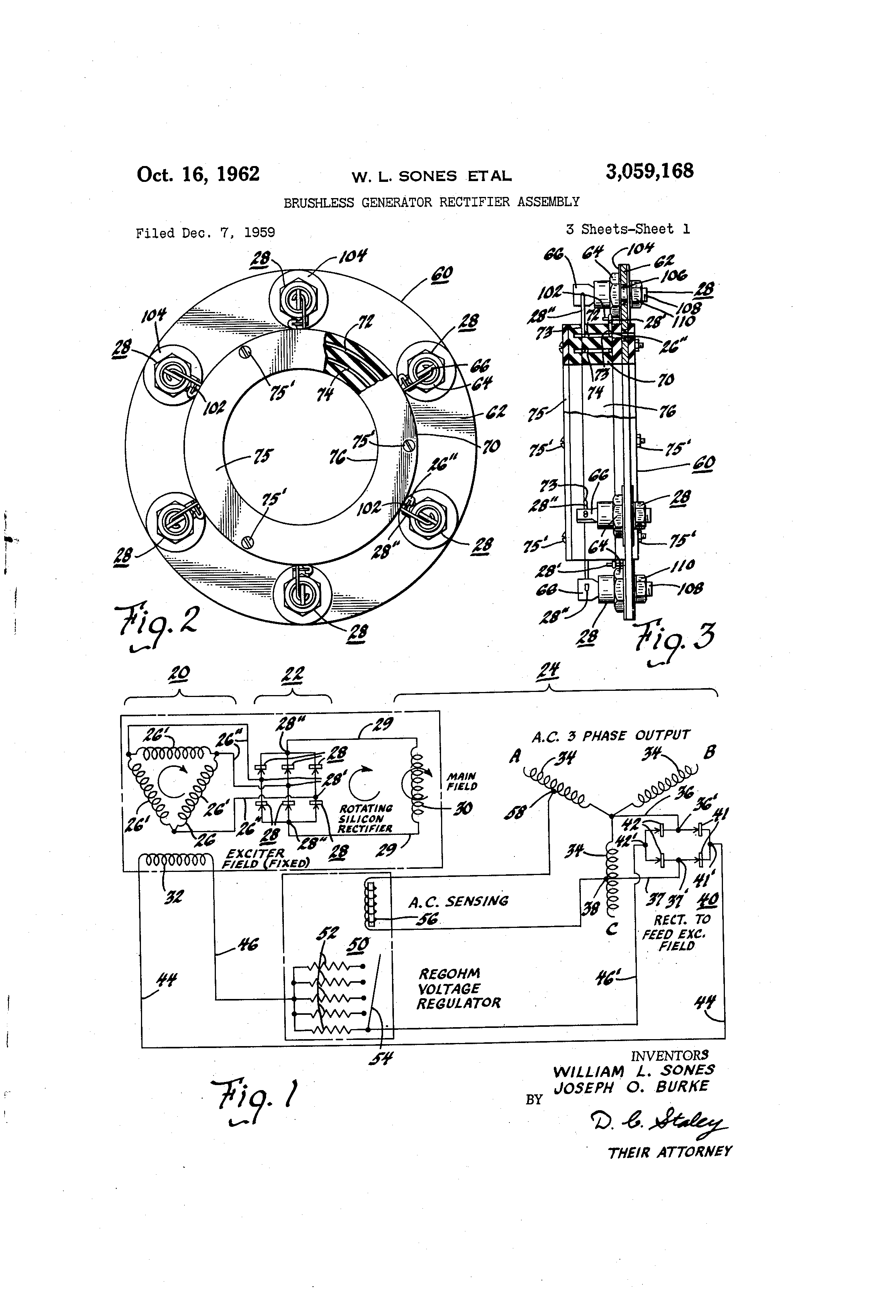 Patent Us3059168 Brushless Generator Rectifier Assembly