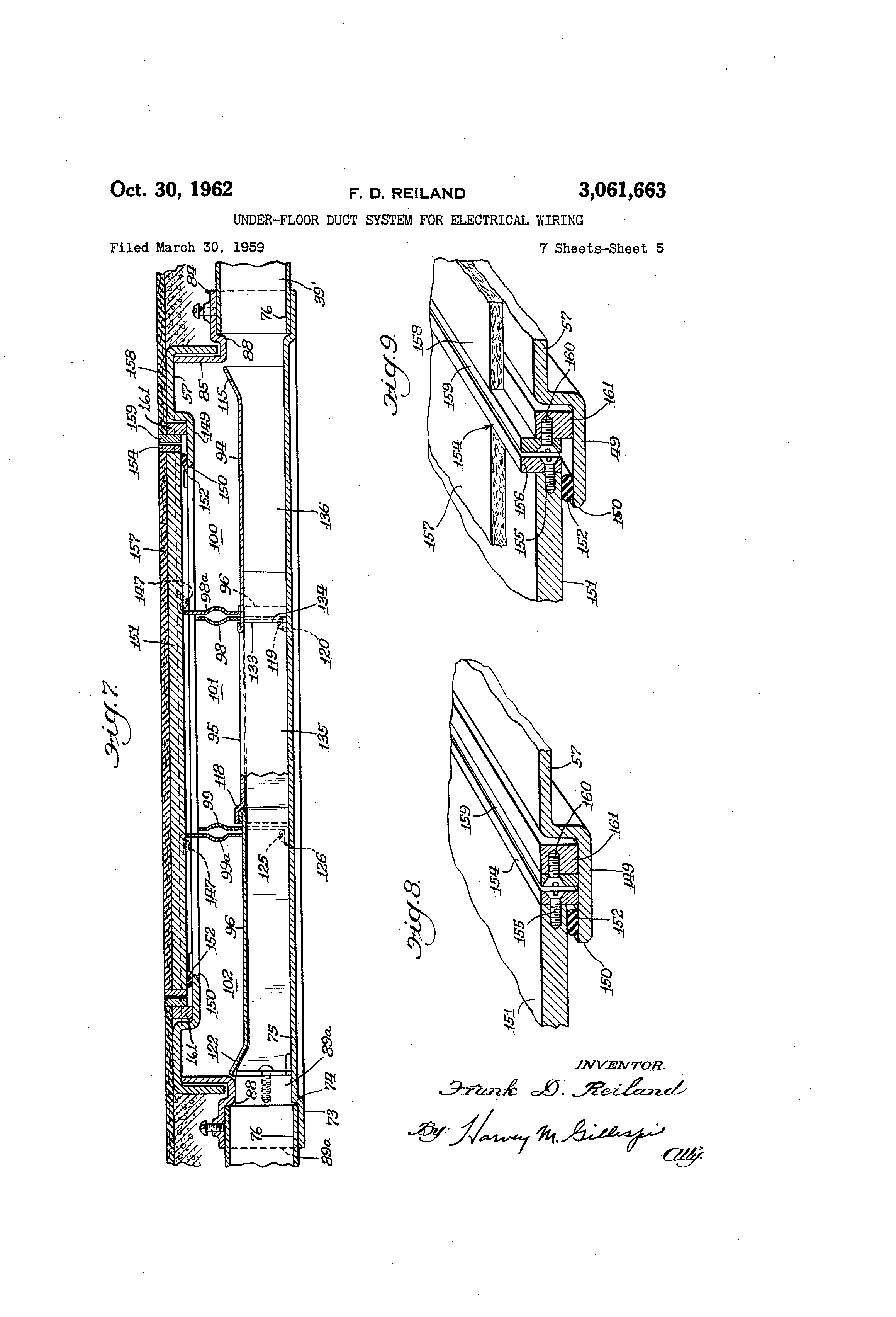 Patent Us3061663 Under Floor Duct System For Electrical