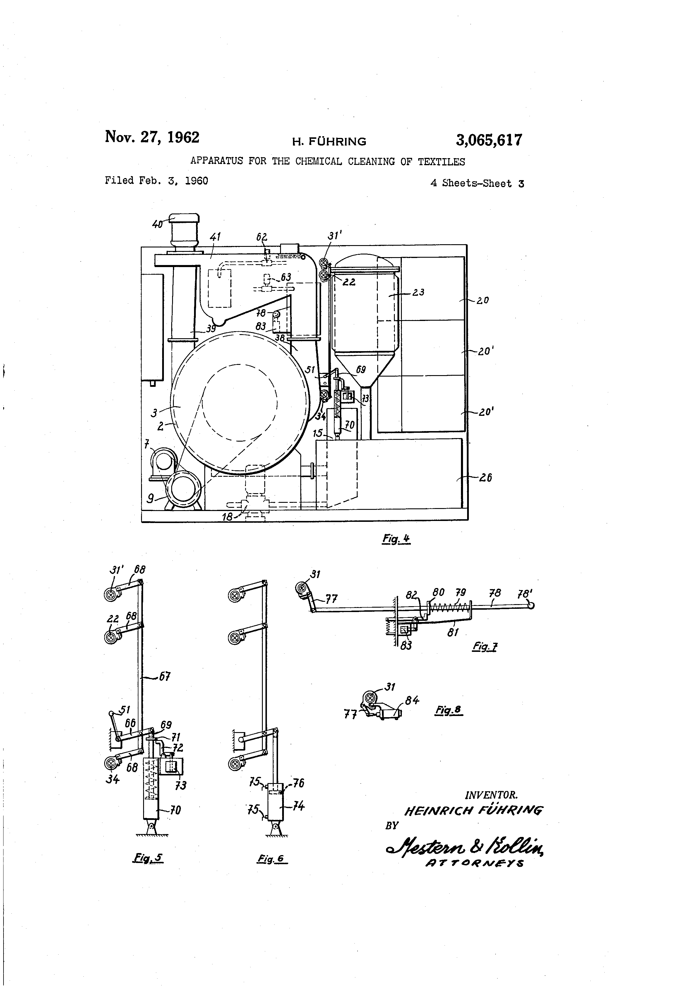 Brevet Us3065617 Apparatus For The Chemical Cleaning Of Textiles Milnor Dryer Wiring Diagram Patent Drawing