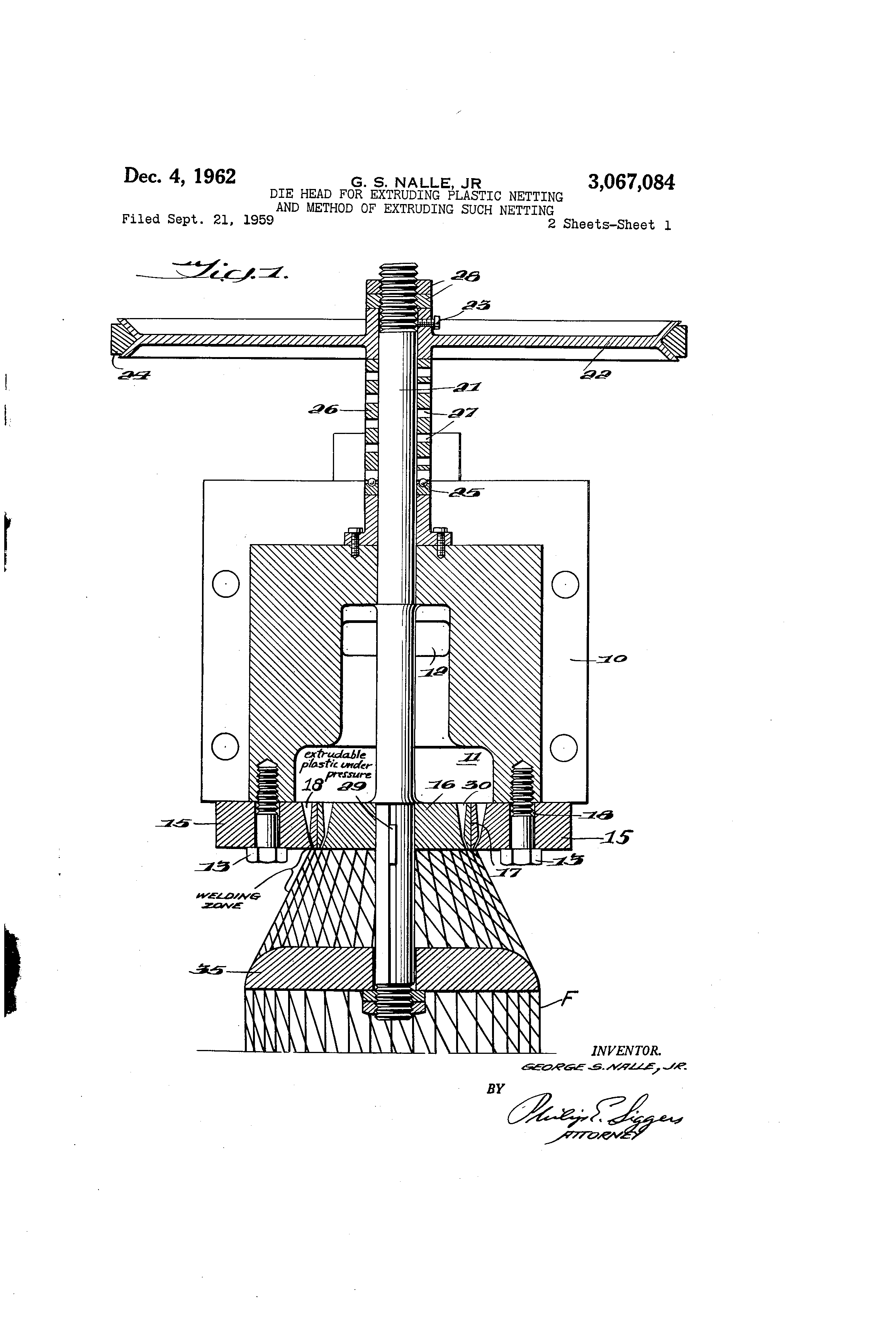 Patent Us3067084 Die Head For Extruding Plastic Netting