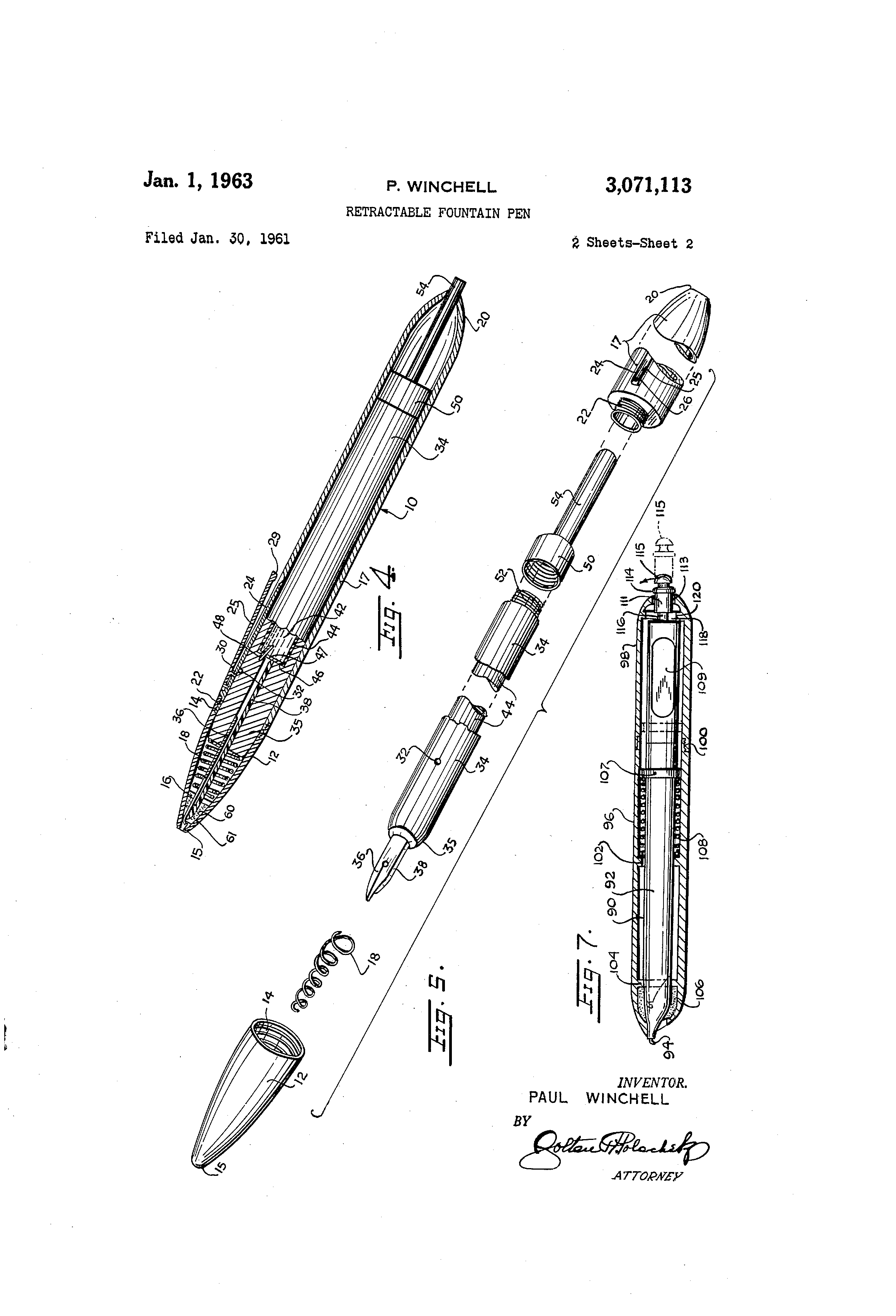 patent us3071113 - retractable fountain pen