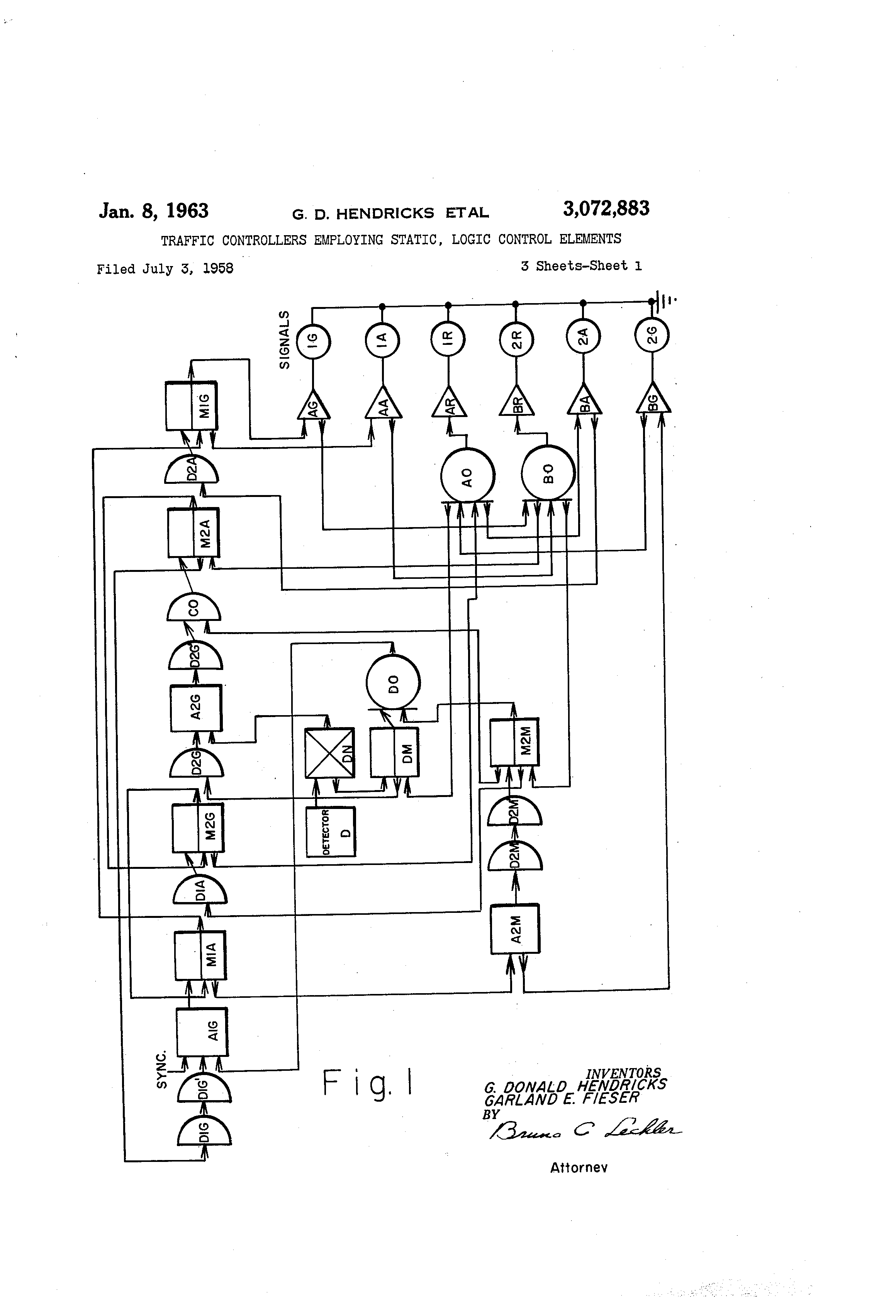 Patent Us3072883 Traffic Controllers Employing Static Logic Control Diagram Drawing