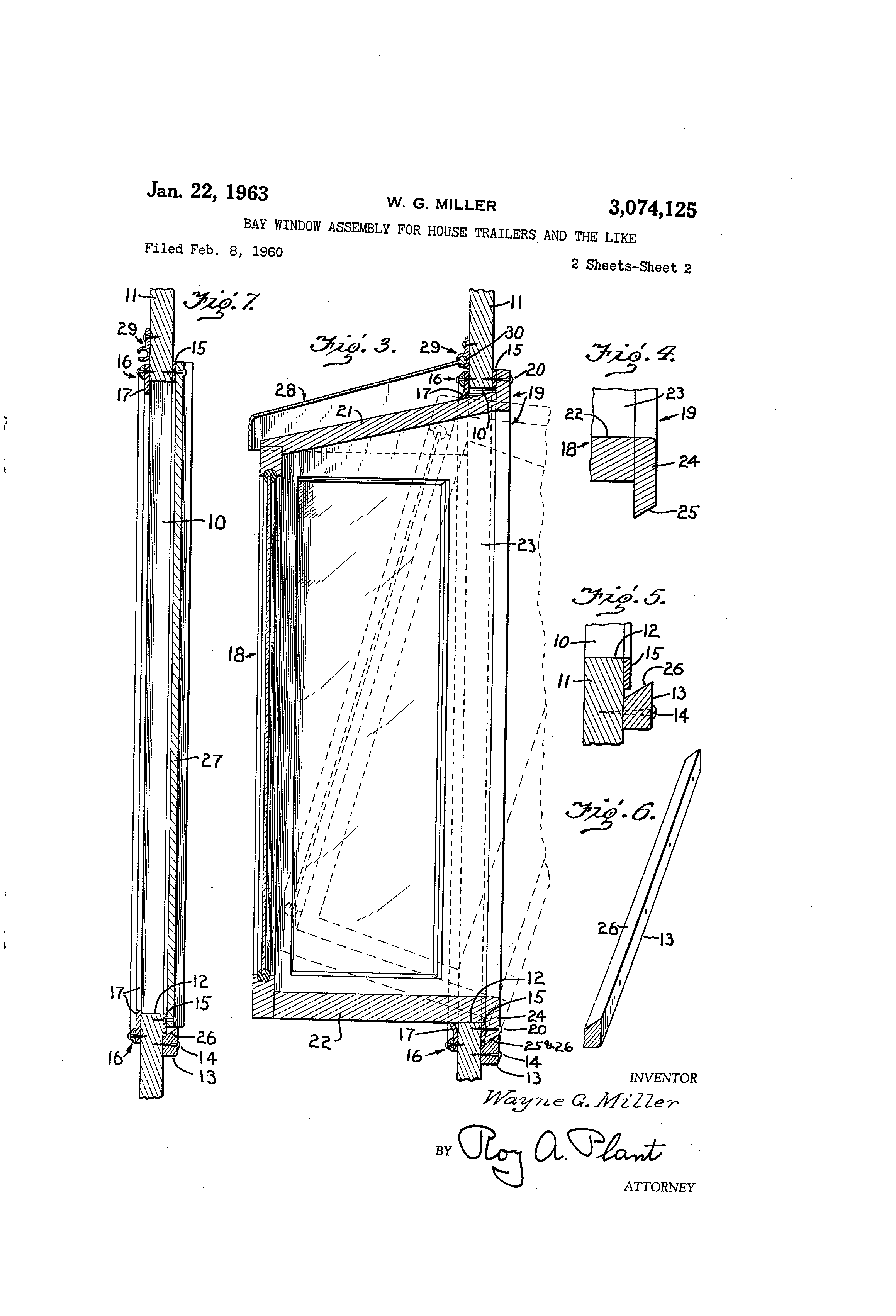 Patent us3074125 bay window assembly for house trailers for Bay window construction details