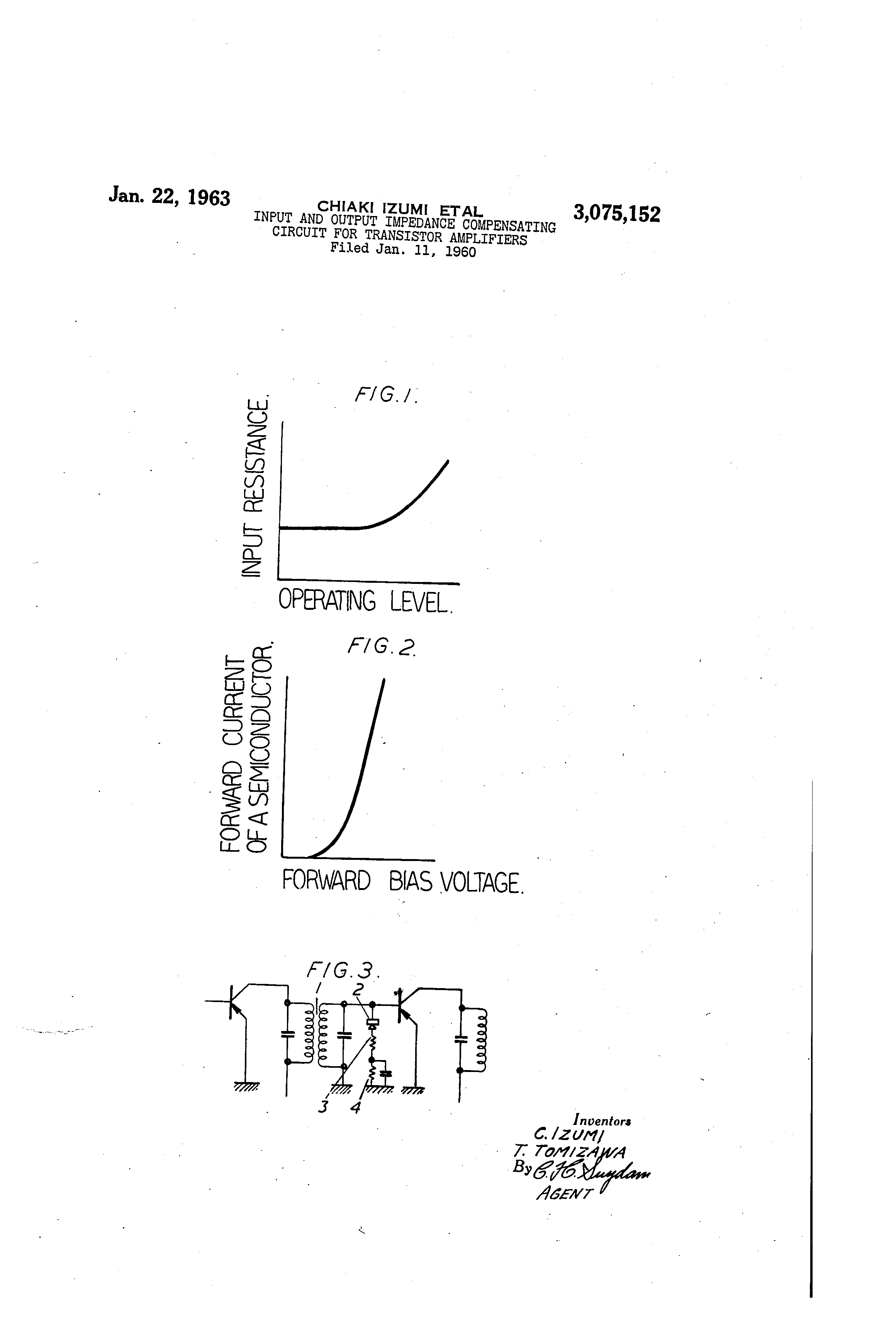 Patent Us3075152 Input And Output Impedance Compensating Circuit Current Amplifier Transistor For Amplifiers Google Patenten