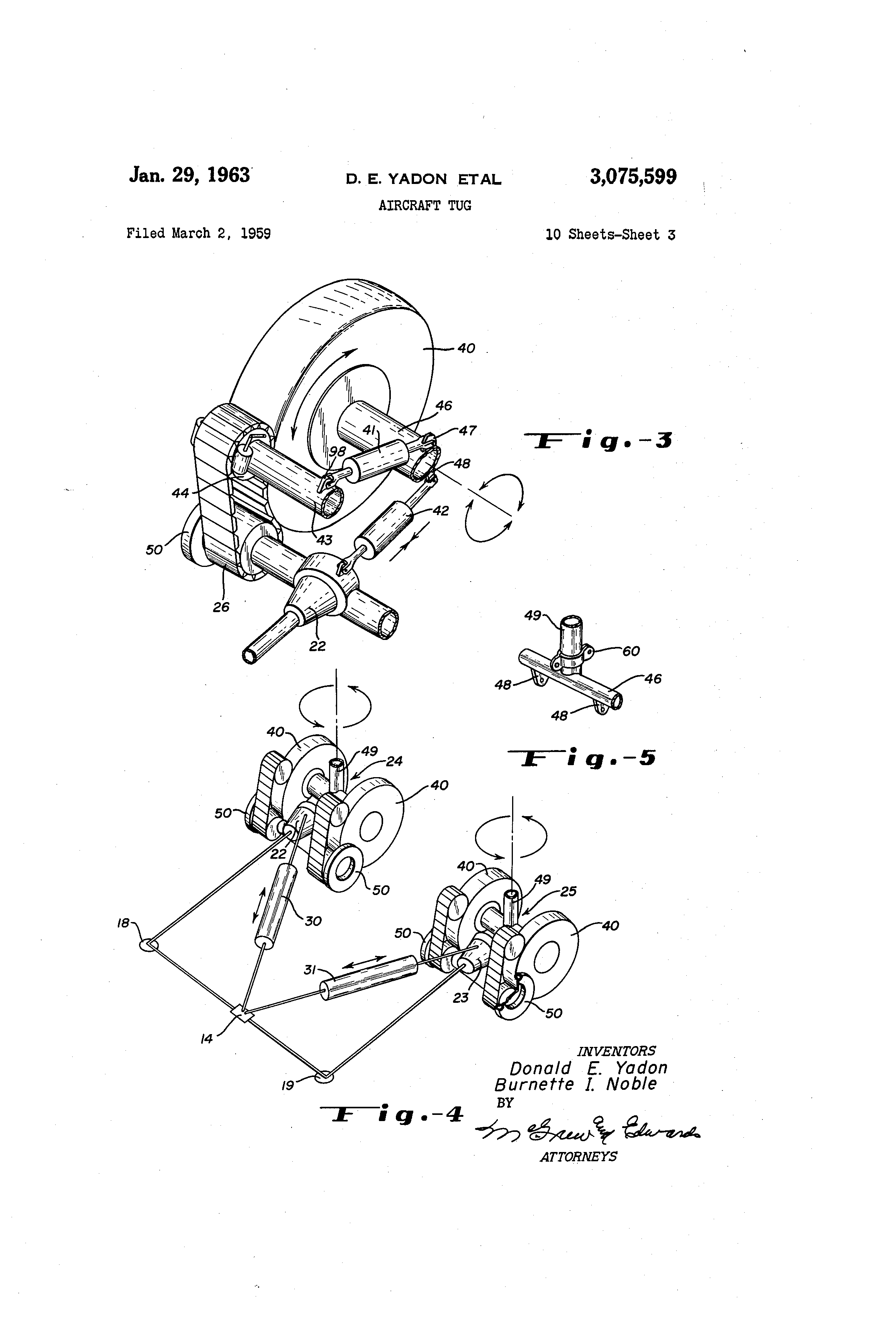 patent us3075599 aircraft tug patenten Airplane Wing Dimensions patent drawing