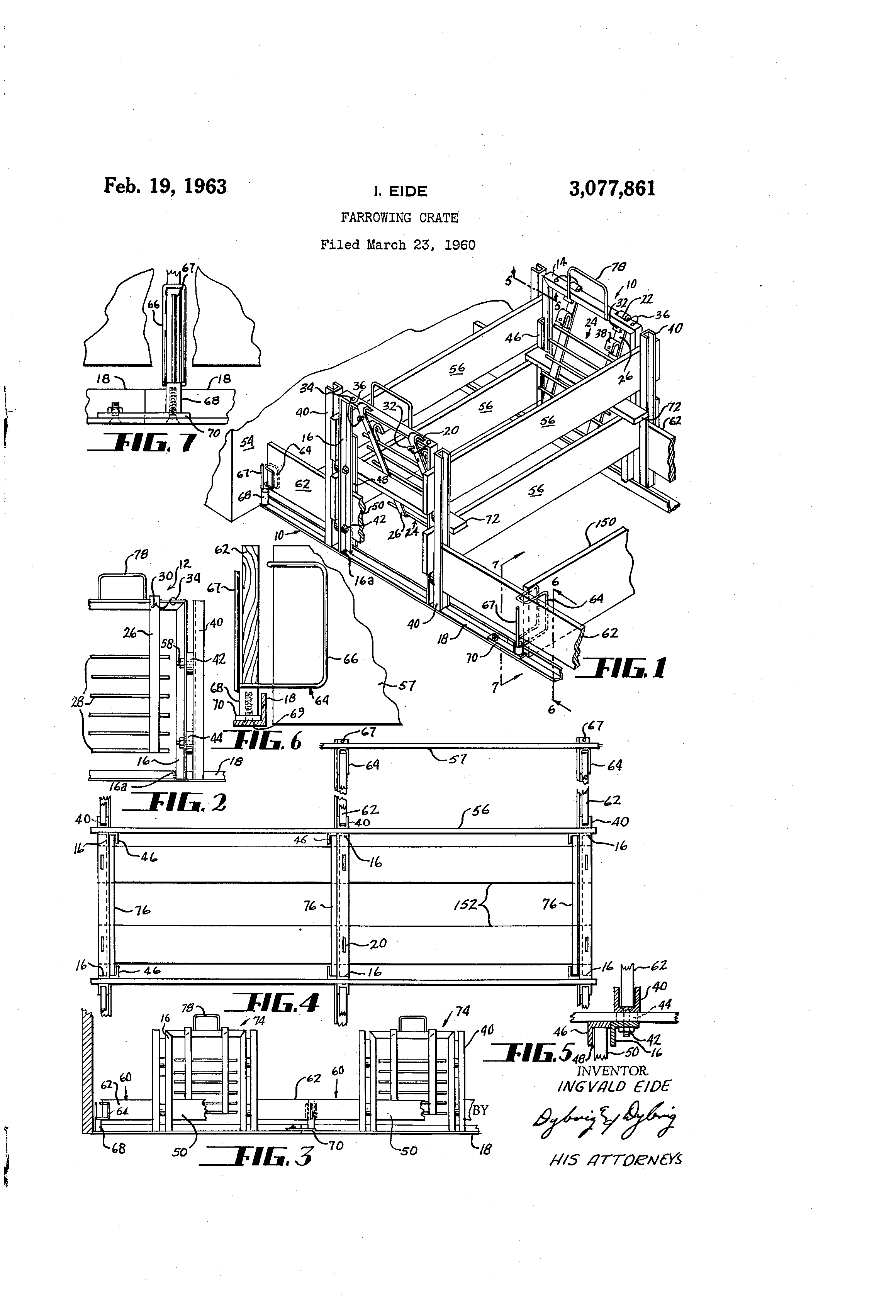 patent us3077861 - farrowing crate