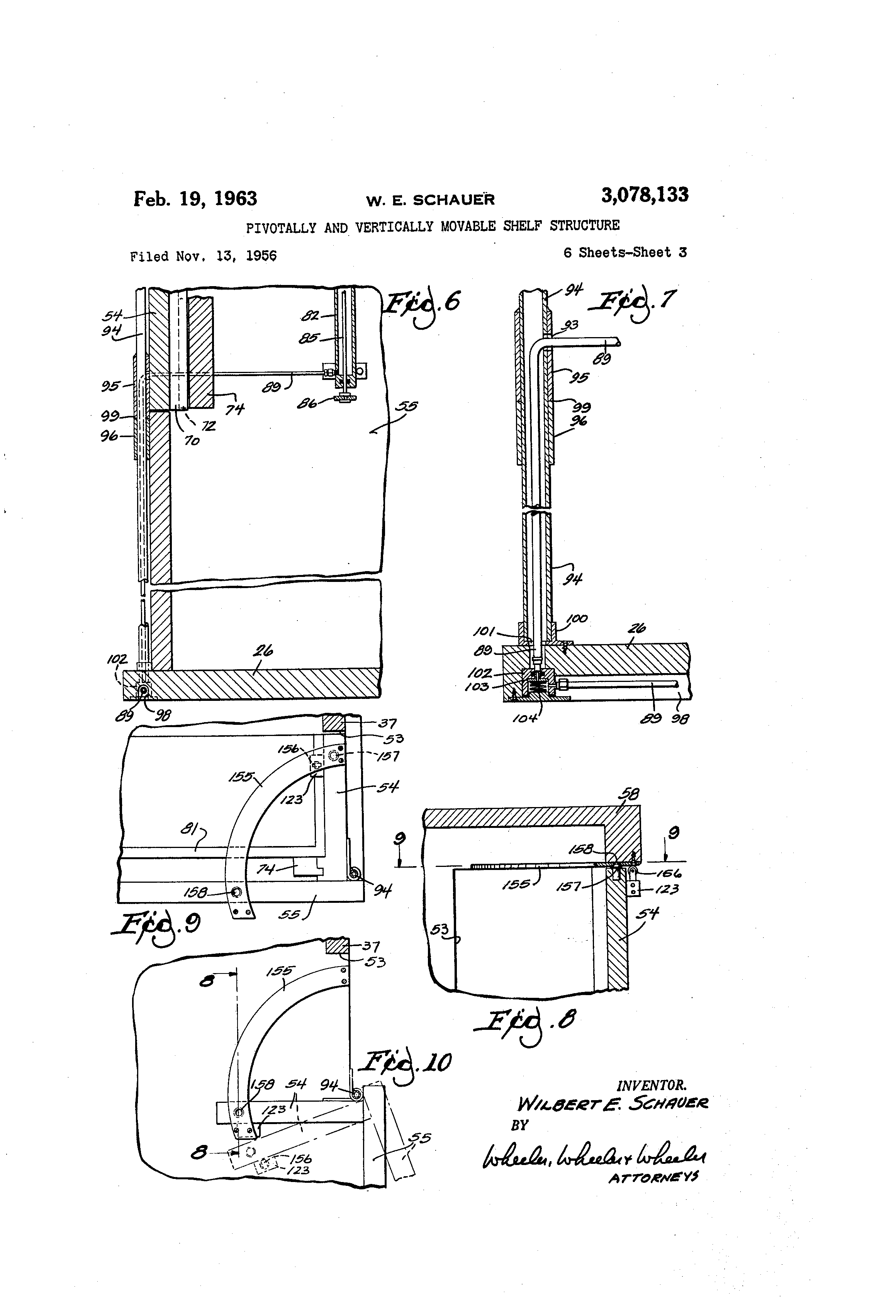 patent us pivotally and vertically movable shelf patent drawing