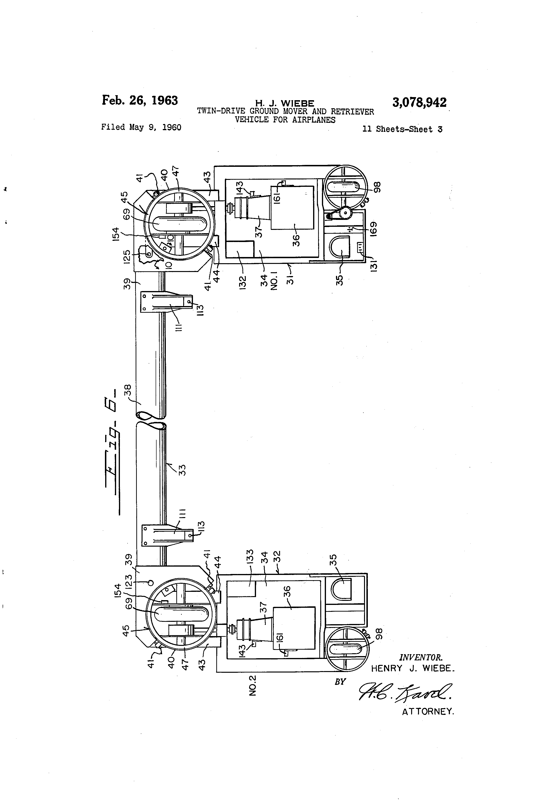 patent us3078942 twin drive ground mover and retriever vehicle patent drawing