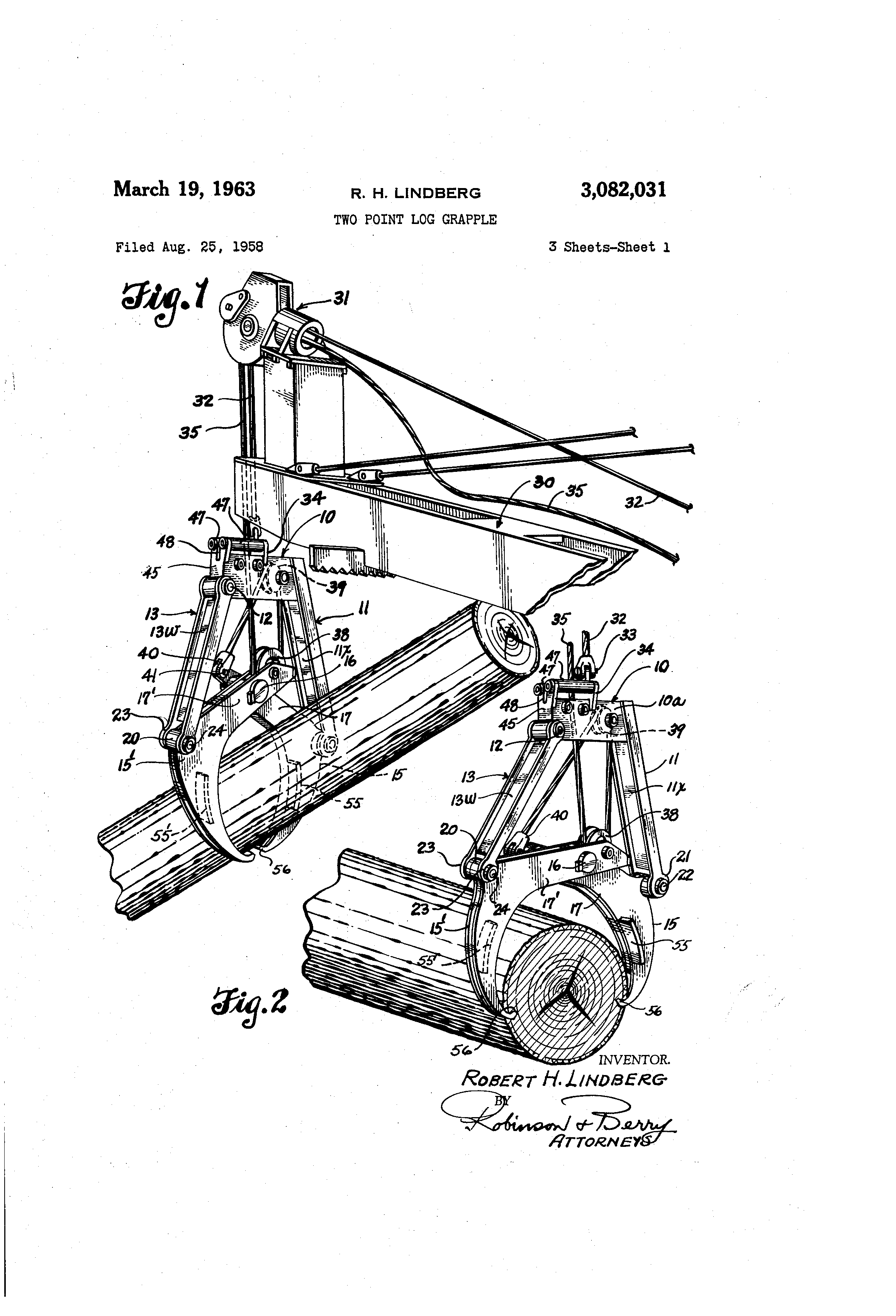 patent us3082031 - two point log grapple