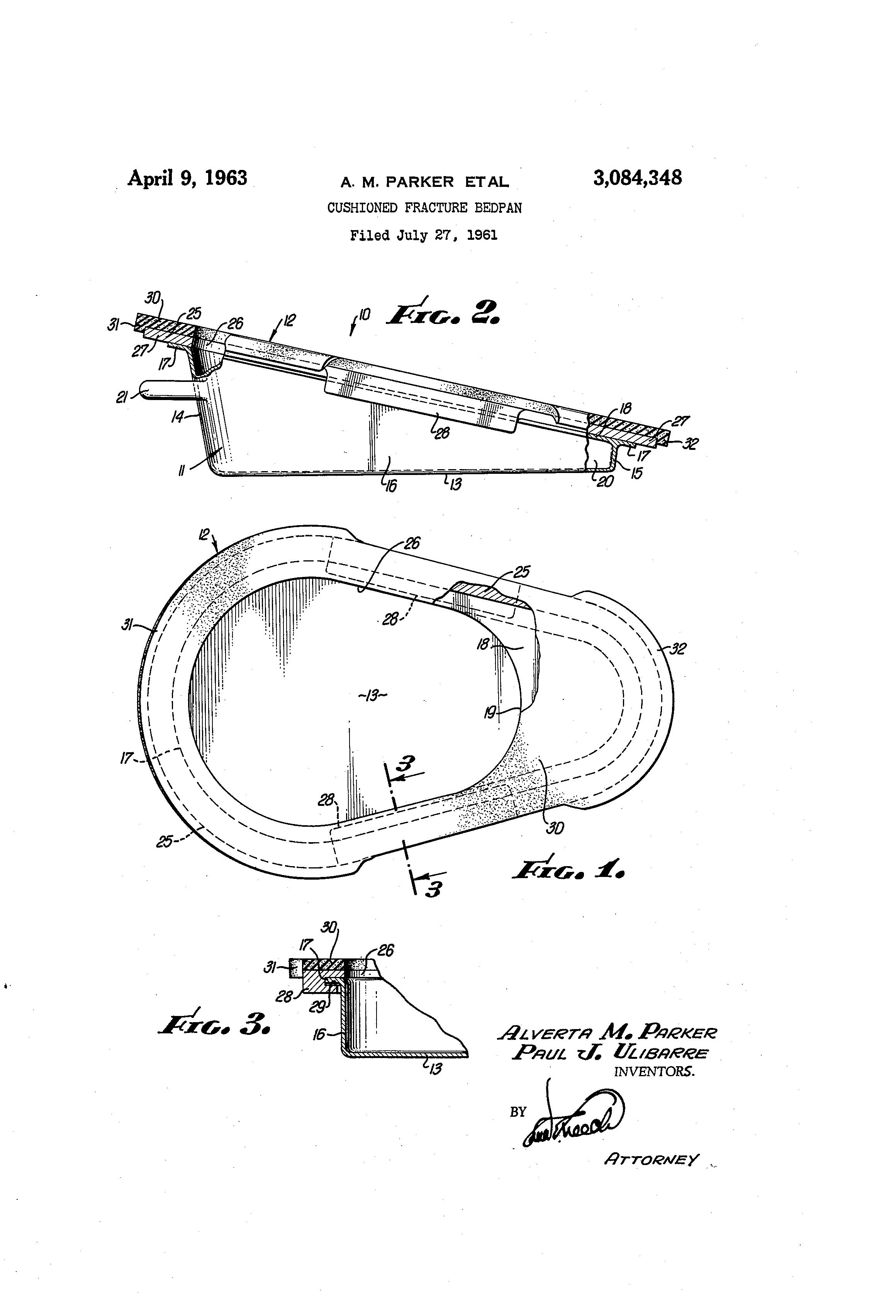 patent us3084348 - cushioned fracture bedpan - google patents