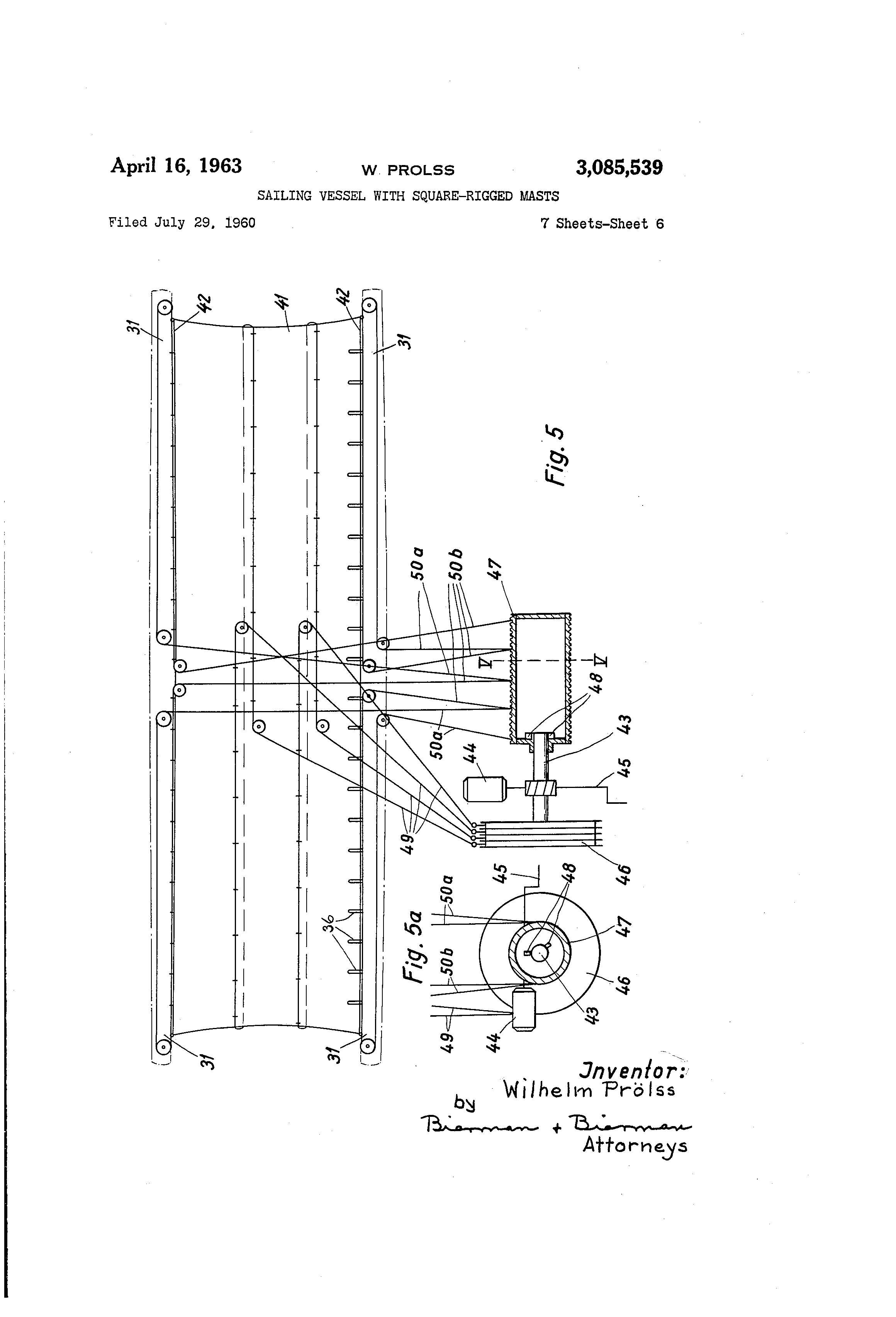 patent us3085539 sailing vessel with square rigged masts