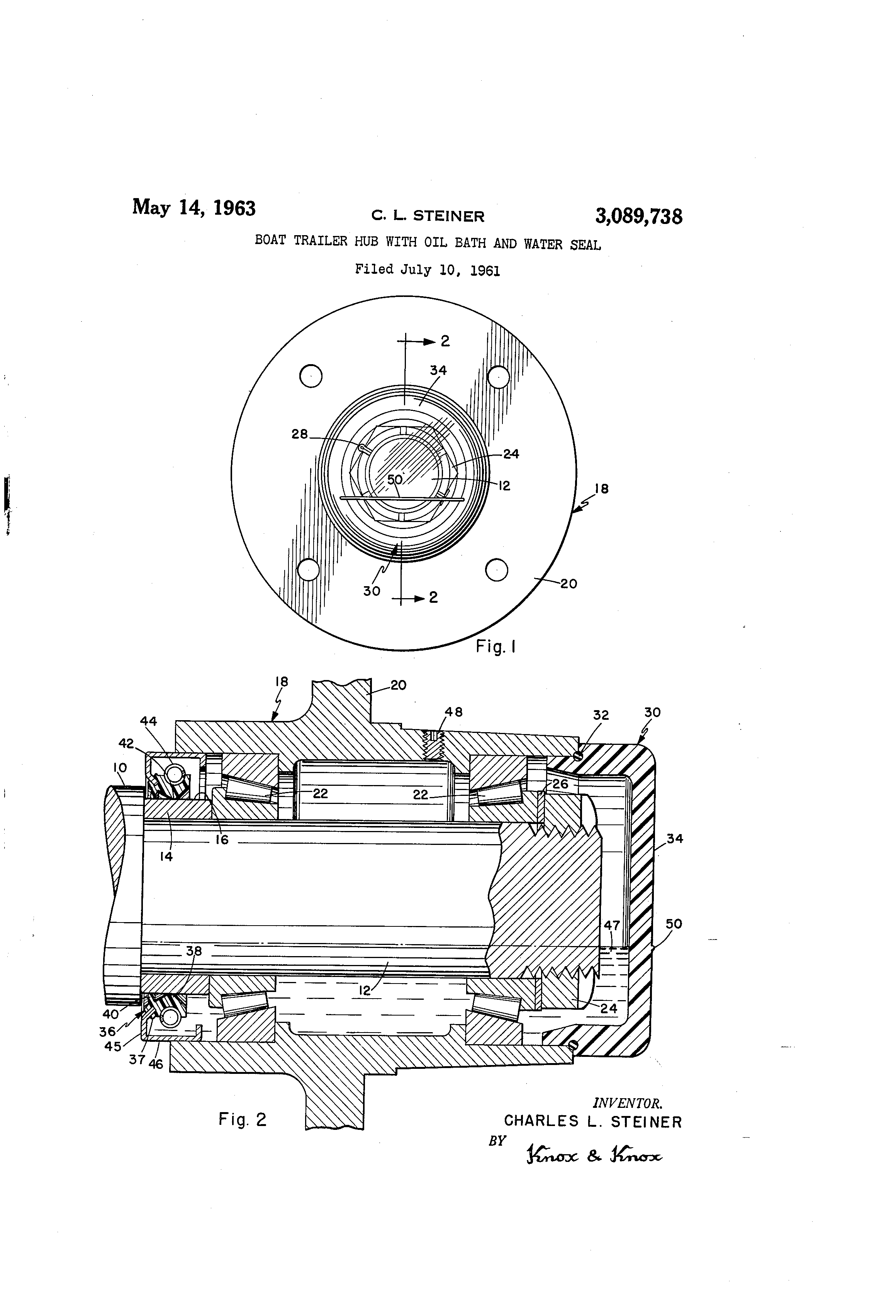 US3089738 0 patent us3089738 boat trailer hub with oil bath and water seal trailer bearing diagram at suagrazia.org