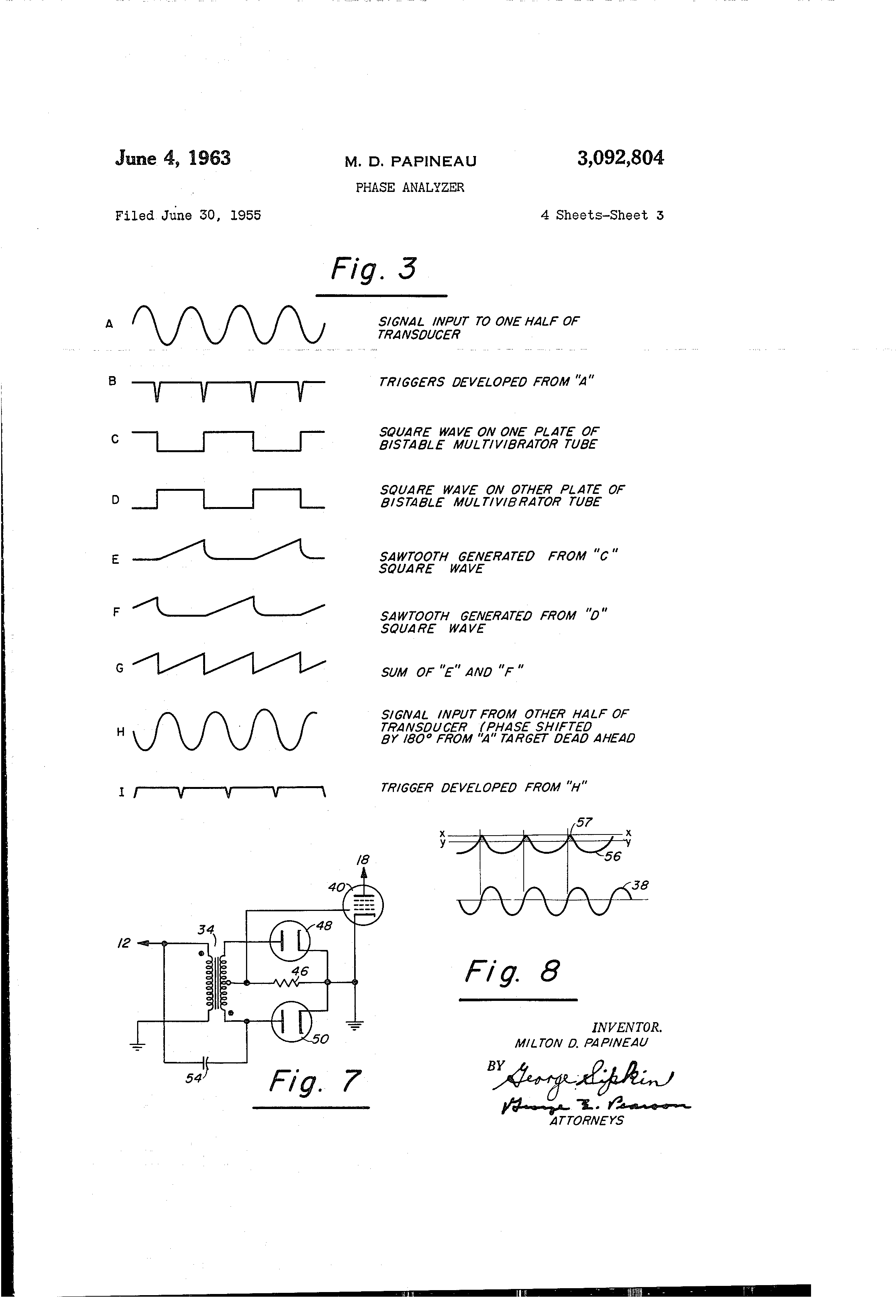 Patente Us3092804 Phase Analyzer Google Patentes Pulse Generator Produces 3 Output Patent Drawing
